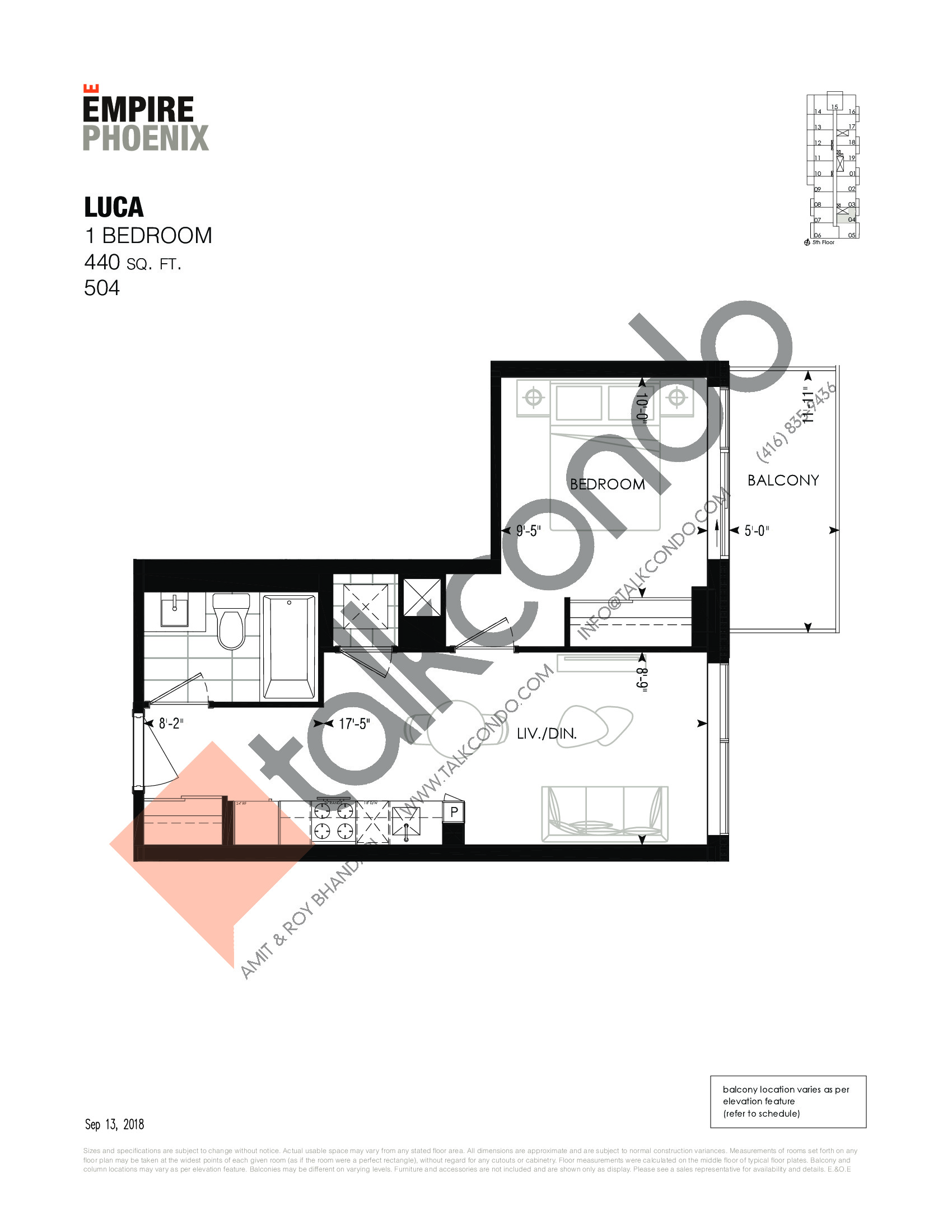 Luca Floor Plan at Empire Phoenix Phase 2 Condos - 440 sq.ft