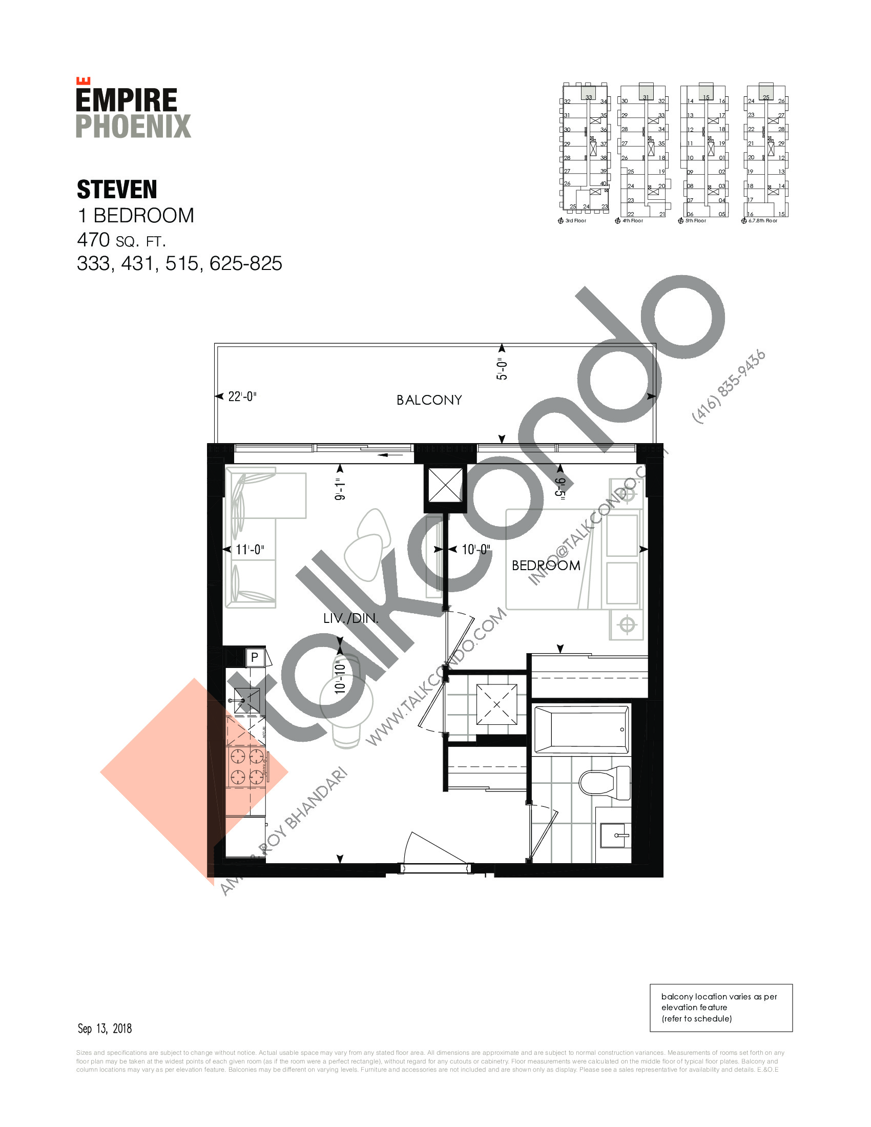 Steven Floor Plan at Empire Phoenix Phase 2 Condos - 470 sq.ft