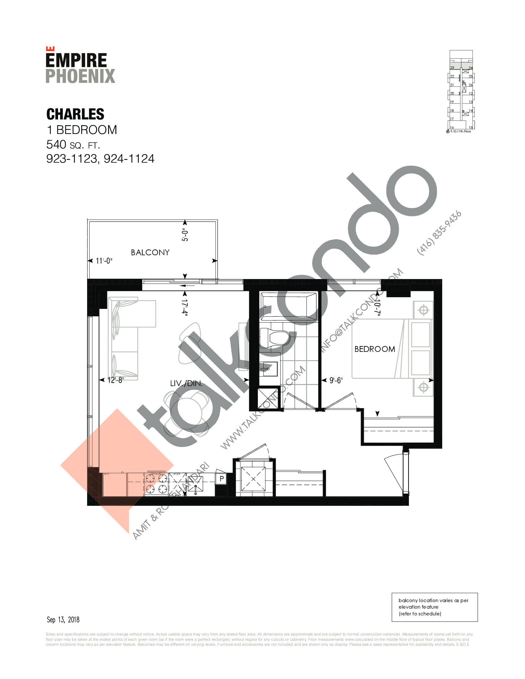 Charles Floor Plan at Empire Phoenix Phase 2 Condos - 540 sq.ft