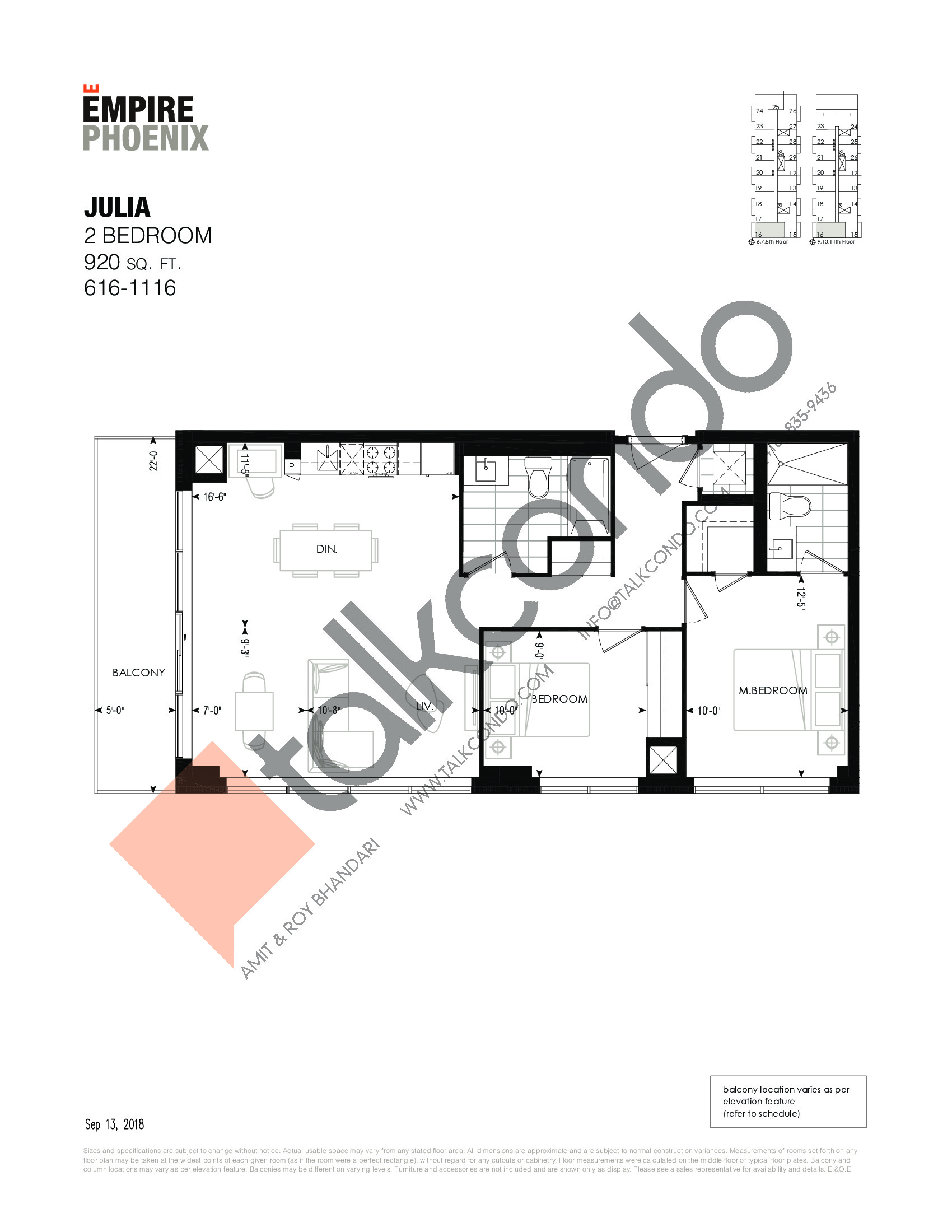Julia Floor Plan at Empire Phoenix Phase 2 Condos - 920 sq.ft