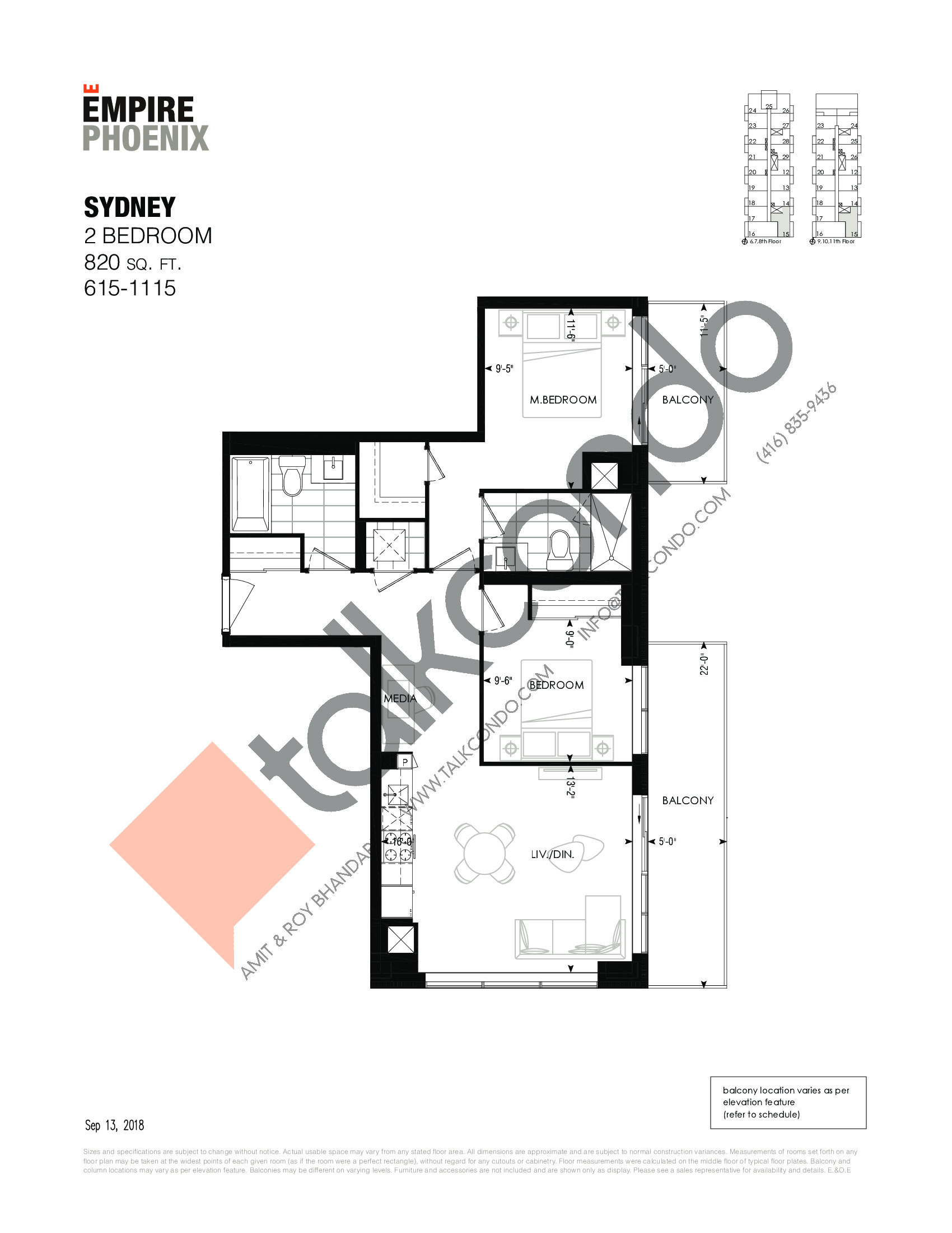 Sydney Floor Plan at Empire Phoenix Phase 2 Condos - 820 sq.ft