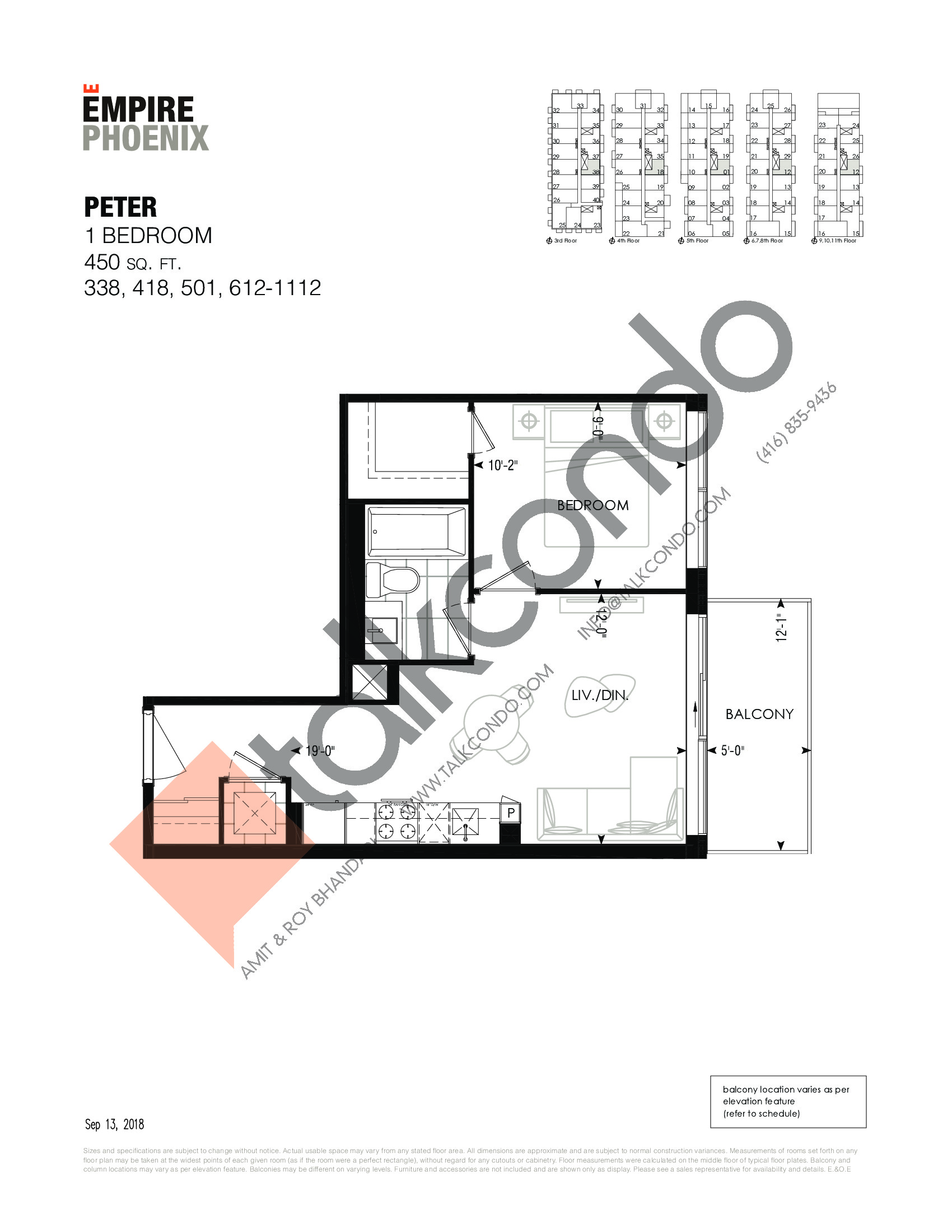Peter Floor Plan at Empire Phoenix Phase 2 Condos - 450 sq.ft