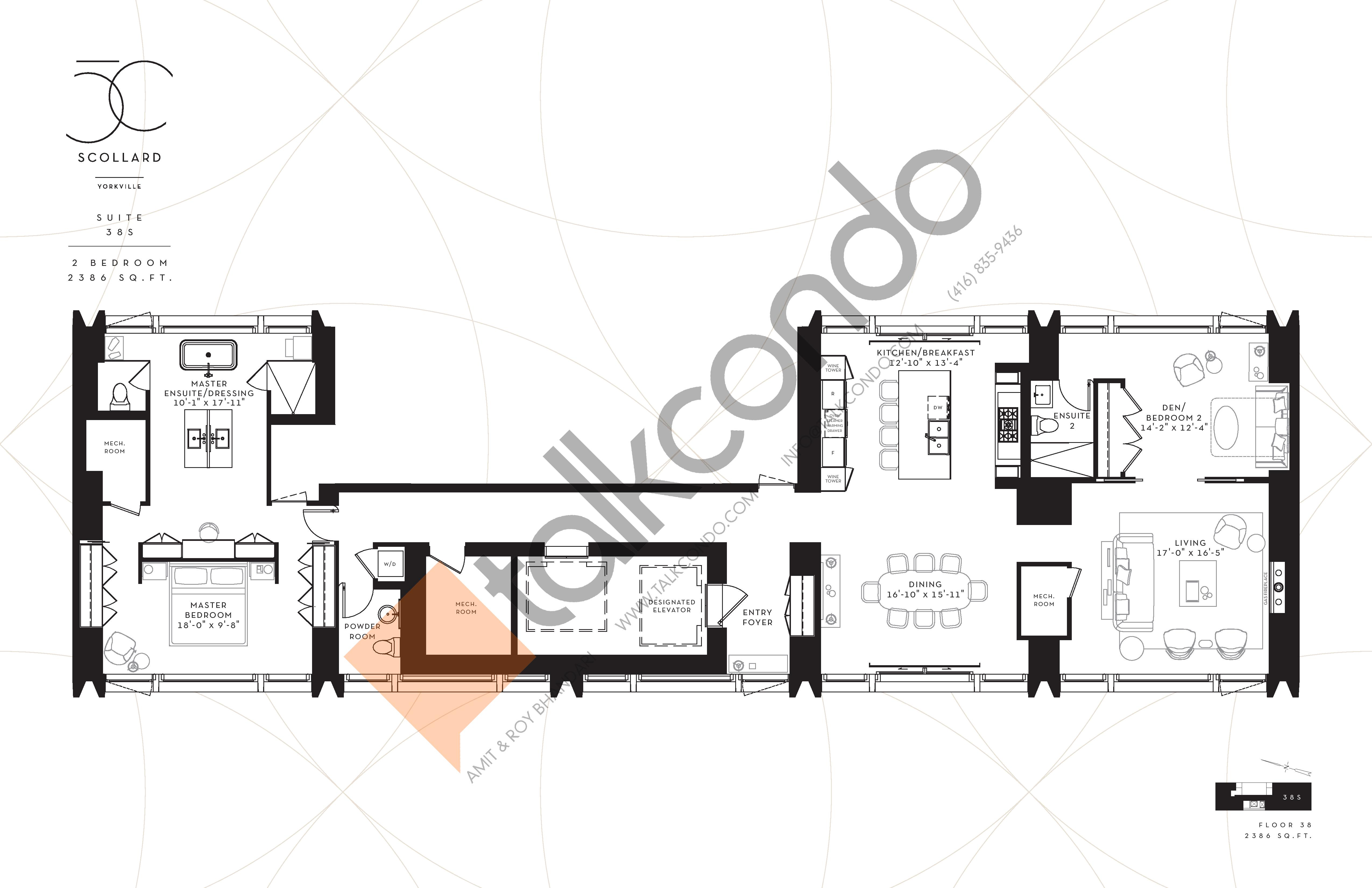 Suite 38S Floor Plan at Fifty Scollard Condos - 2386 sq.ft