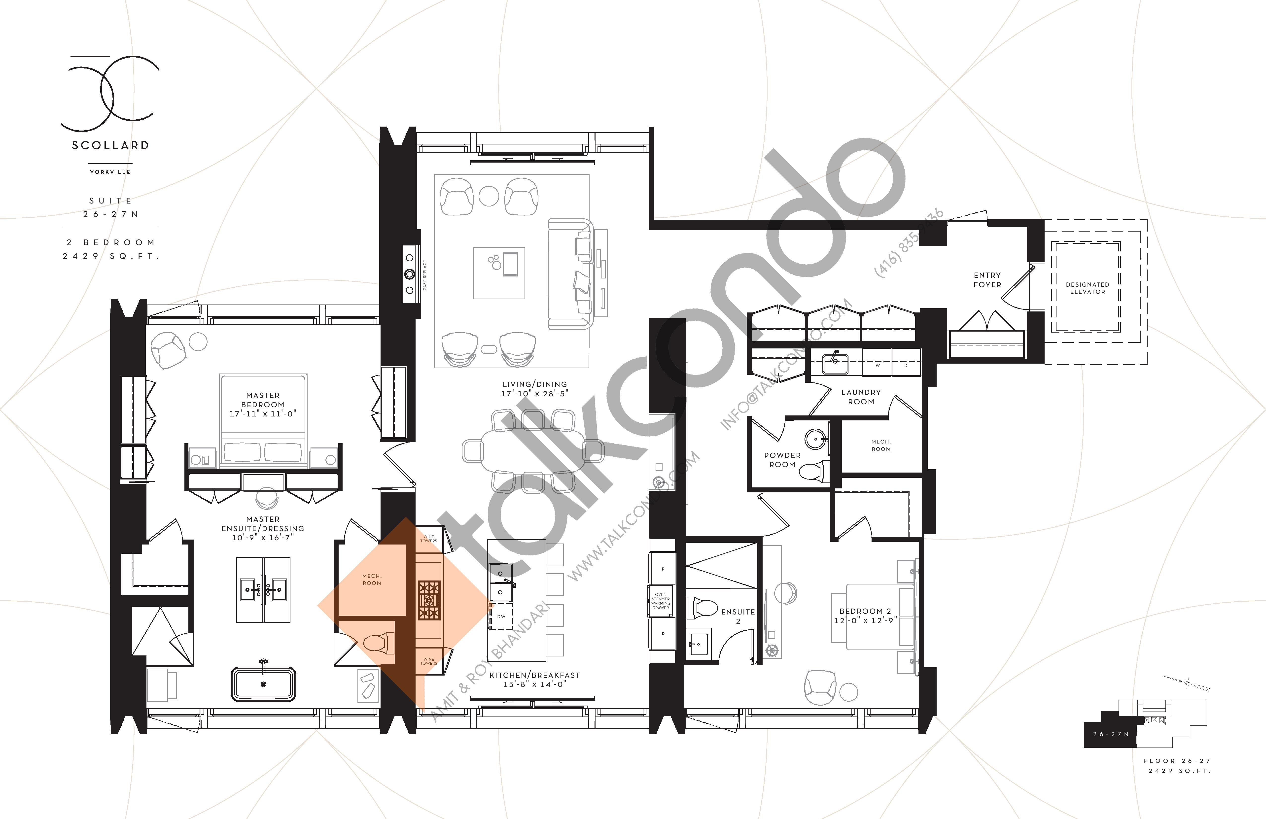 Suite 26-27N Floor Plan at Fifty Scollard Condos - 2429 sq.ft