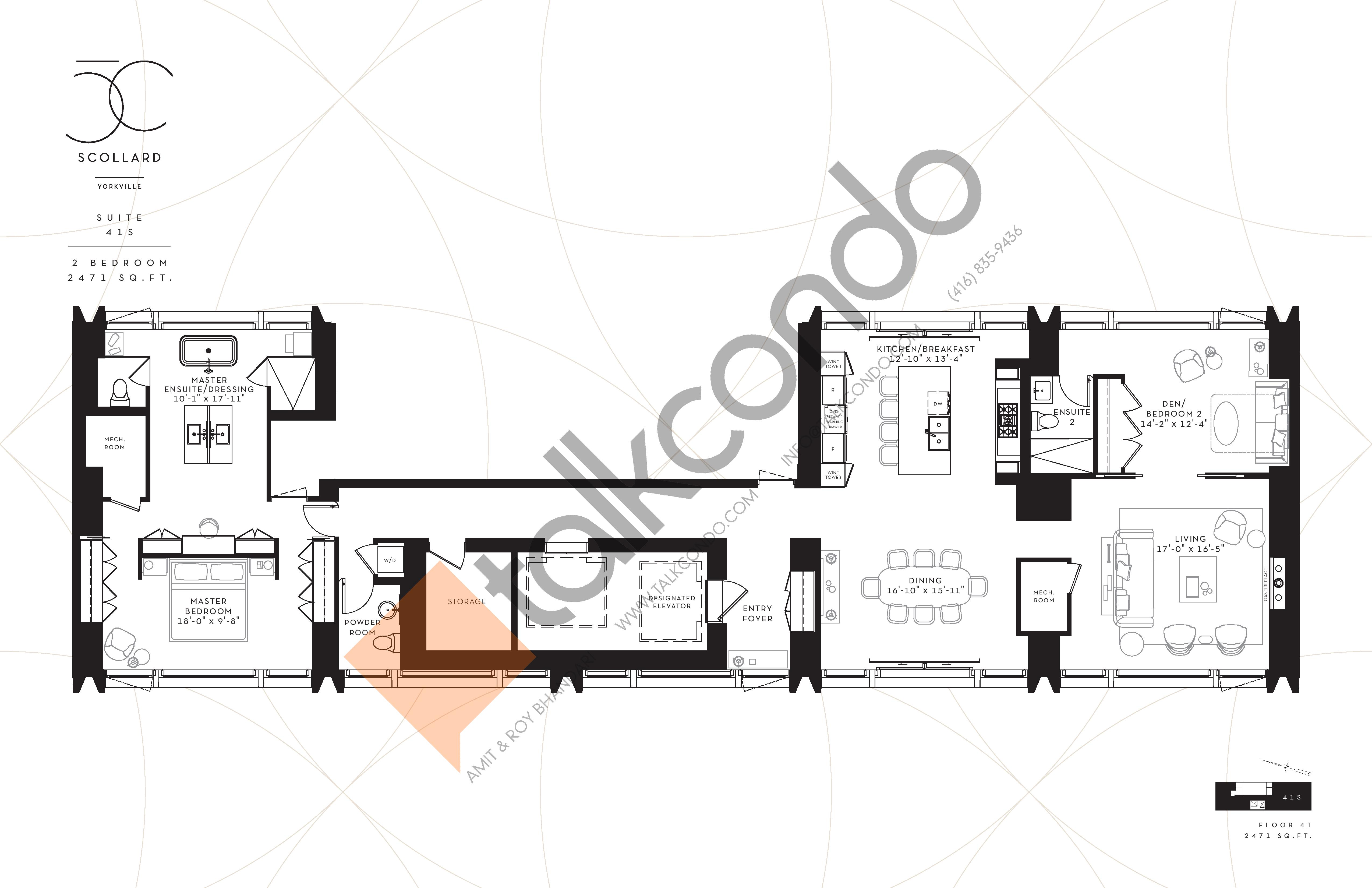 Suite 41S Floor Plan at Fifty Scollard Condos - 2471 sq.ft