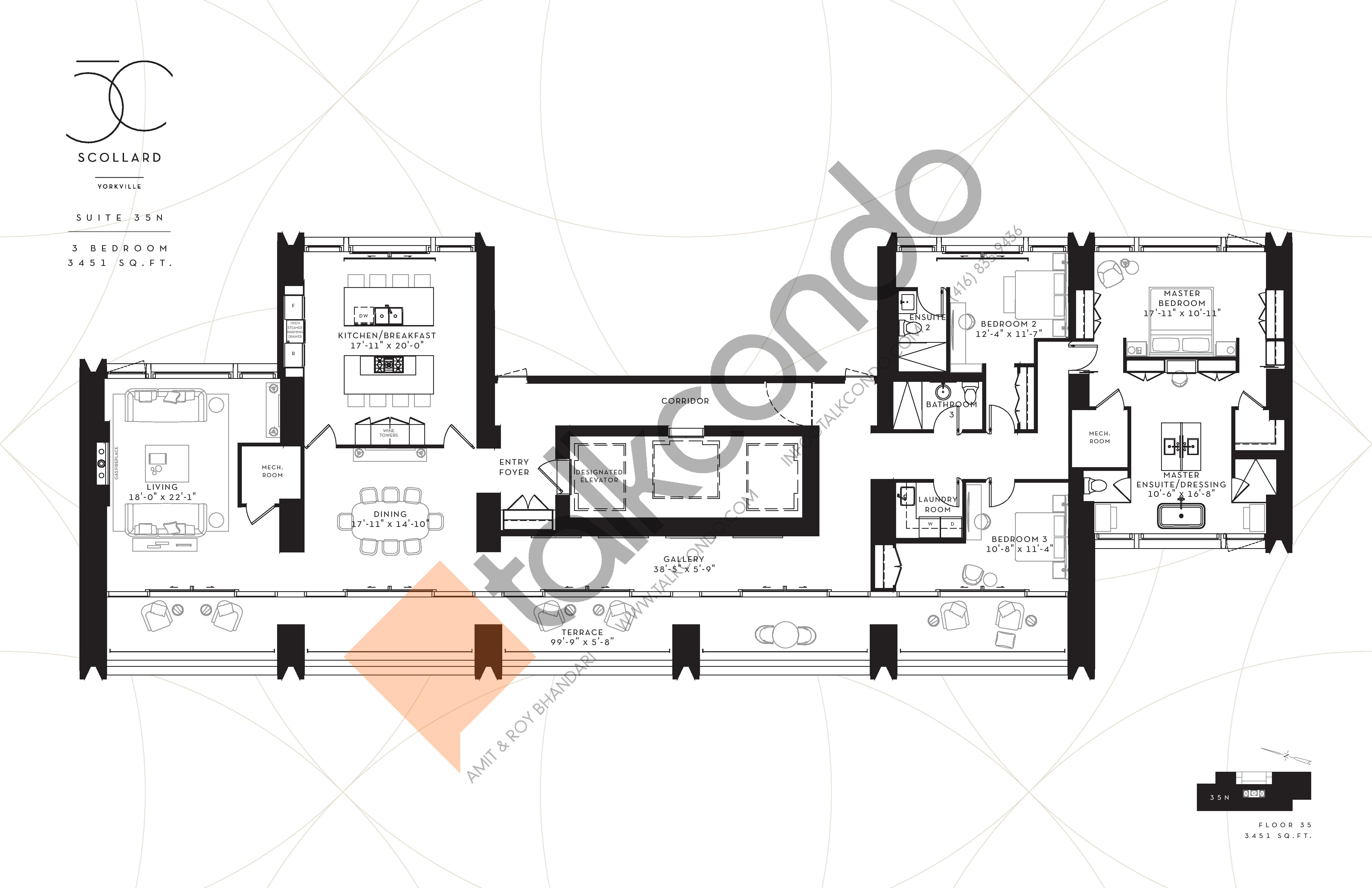 Suite 35N Floor Plan at Fifty Scollard Condos - 3451 sq.ft