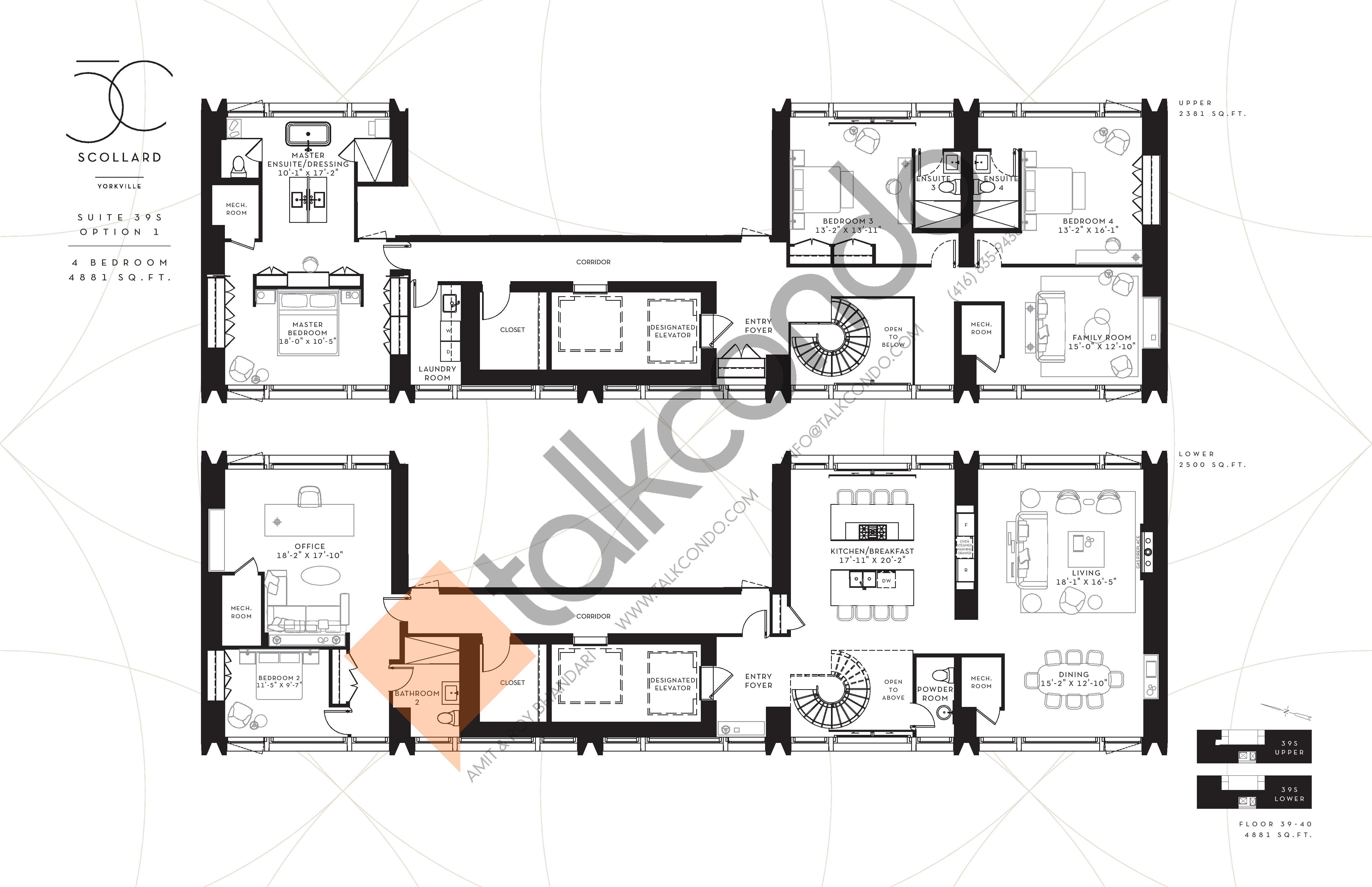 Suite 39S Option 1 Floor Plan at Fifty Scollard Condos - 4881 sq.ft