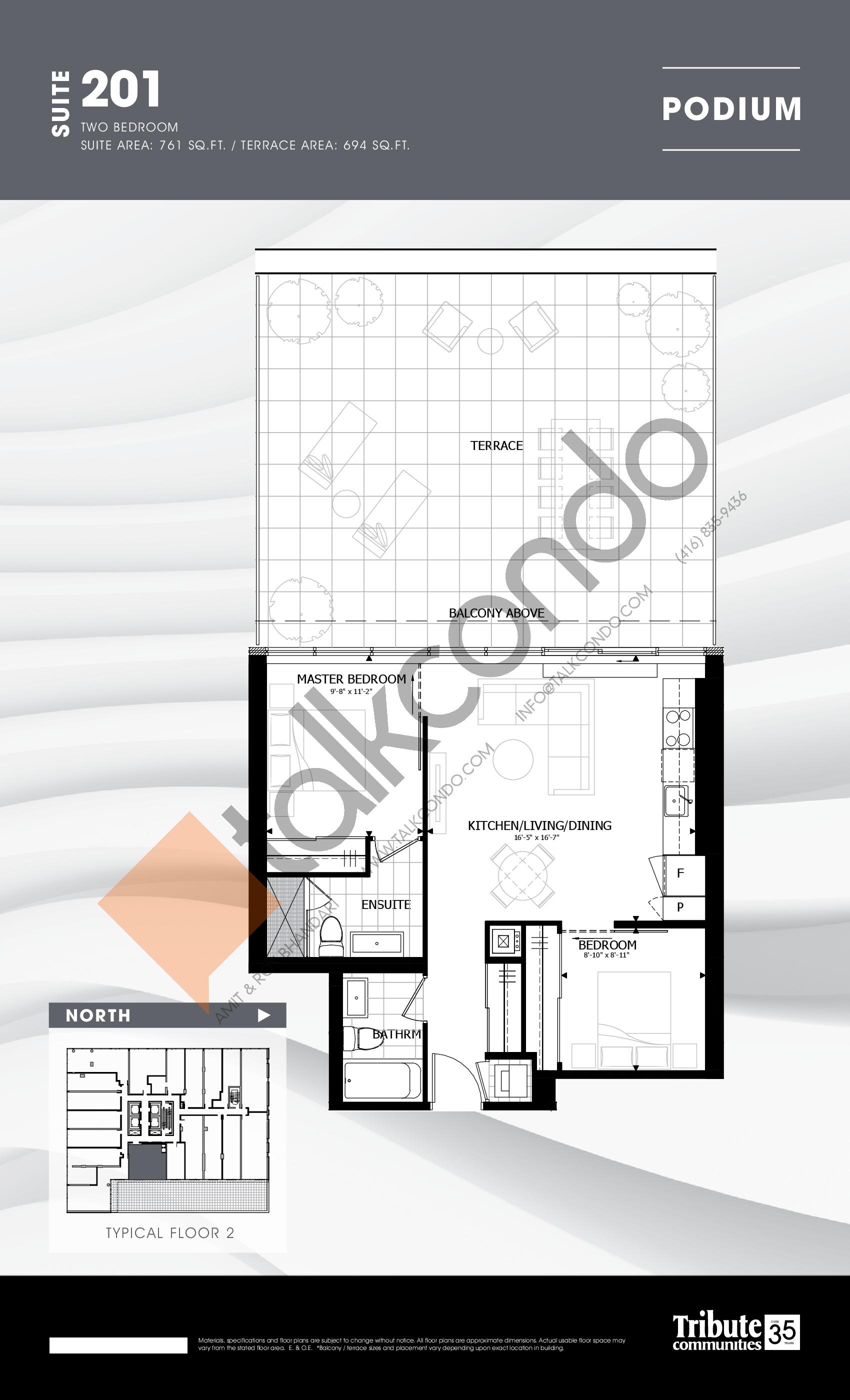 201 Floor Plan at Stanley Condos - 761 sq.ft