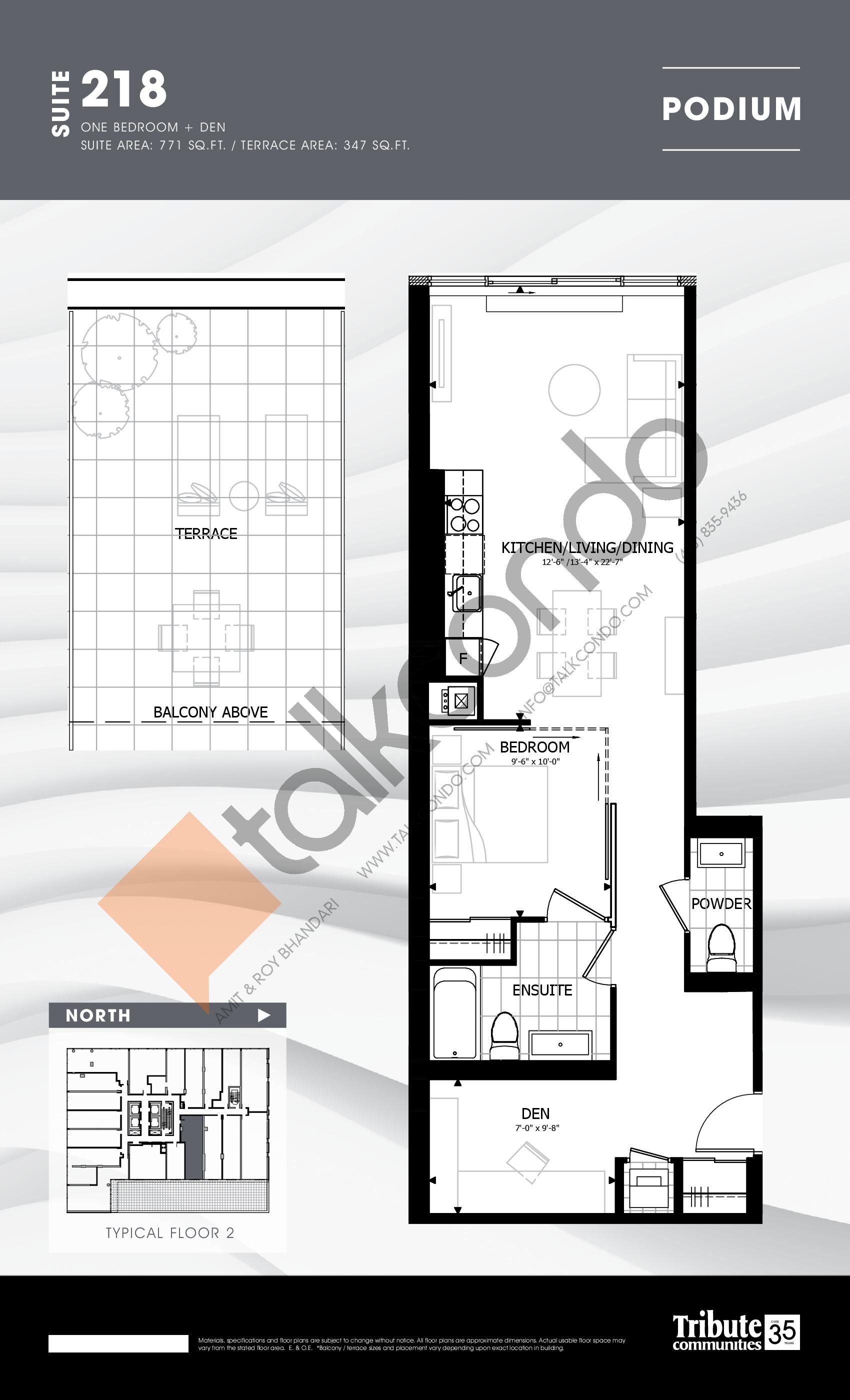 218 Floor Plan at Stanley Condos - 771 sq.ft