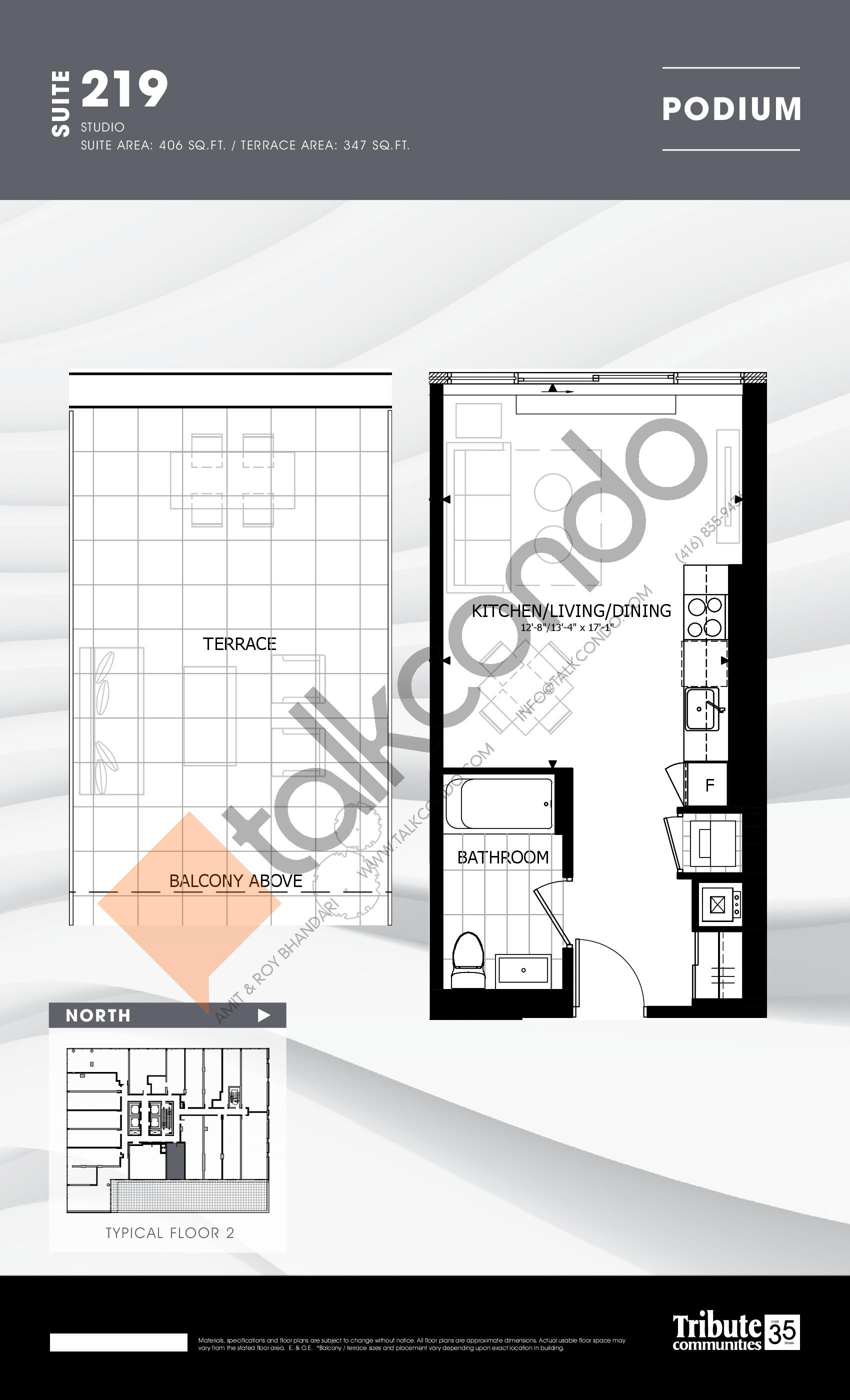 219 Floor Plan at Stanley Condos - 406 sq.ft