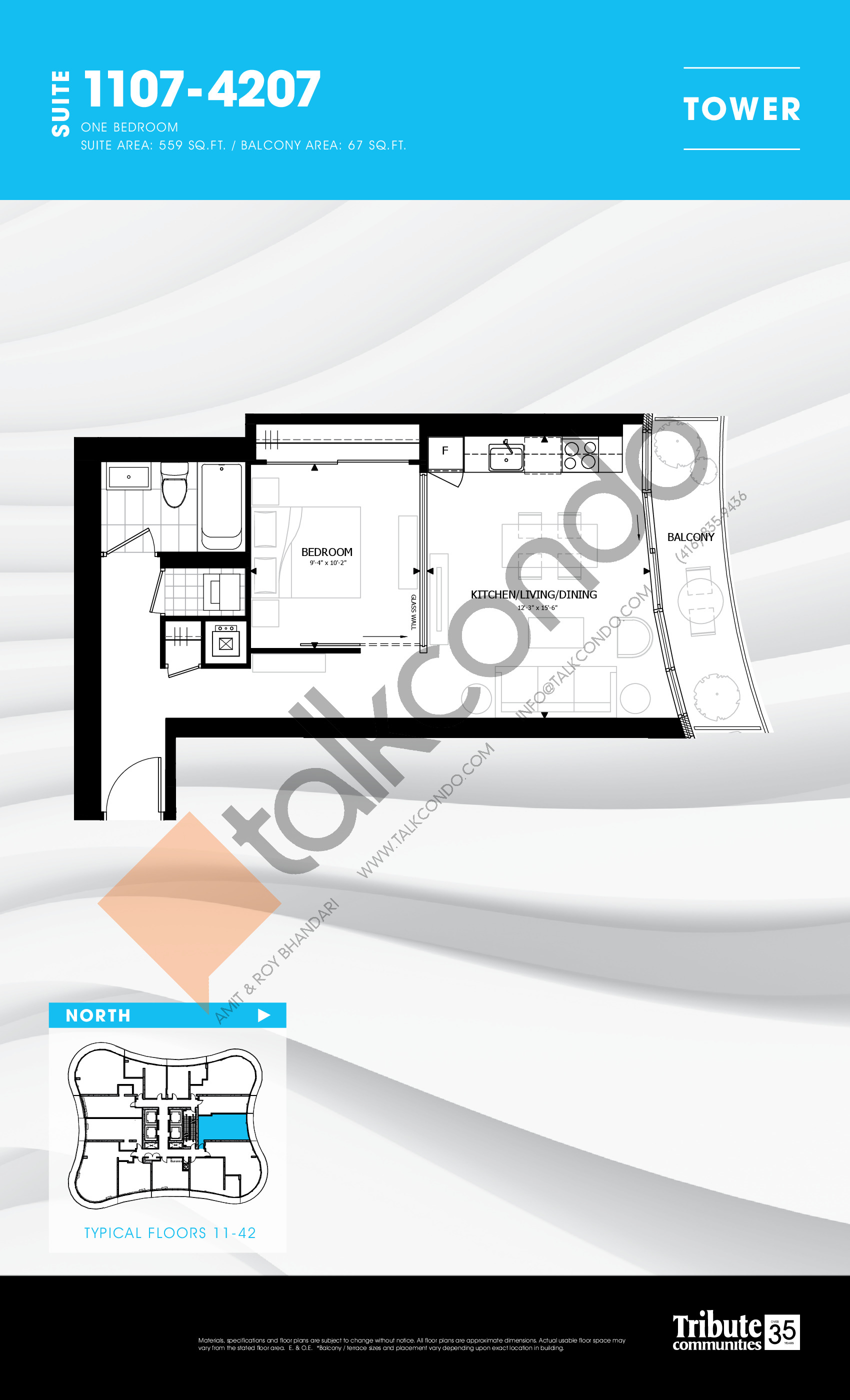 1107-4207 Floor Plan at Stanley Condos - 559 sq.ft