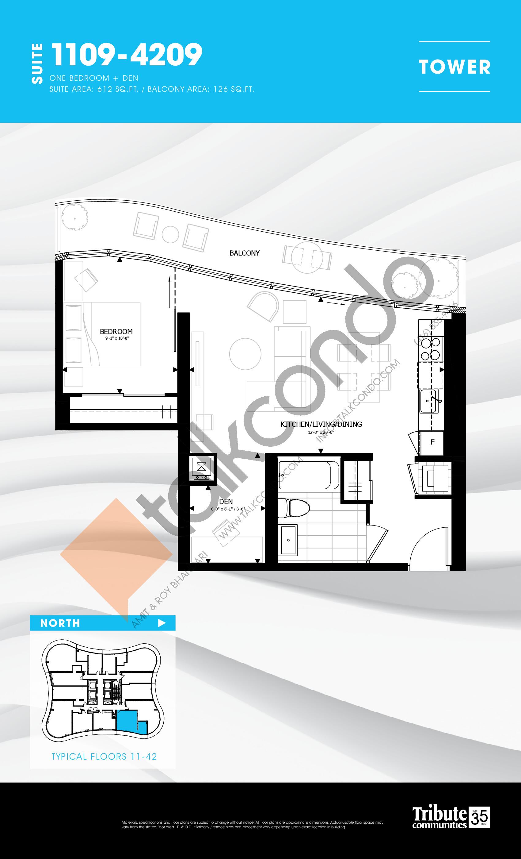 1109-4209 Floor Plan at Stanley Condos - 612 sq.ft