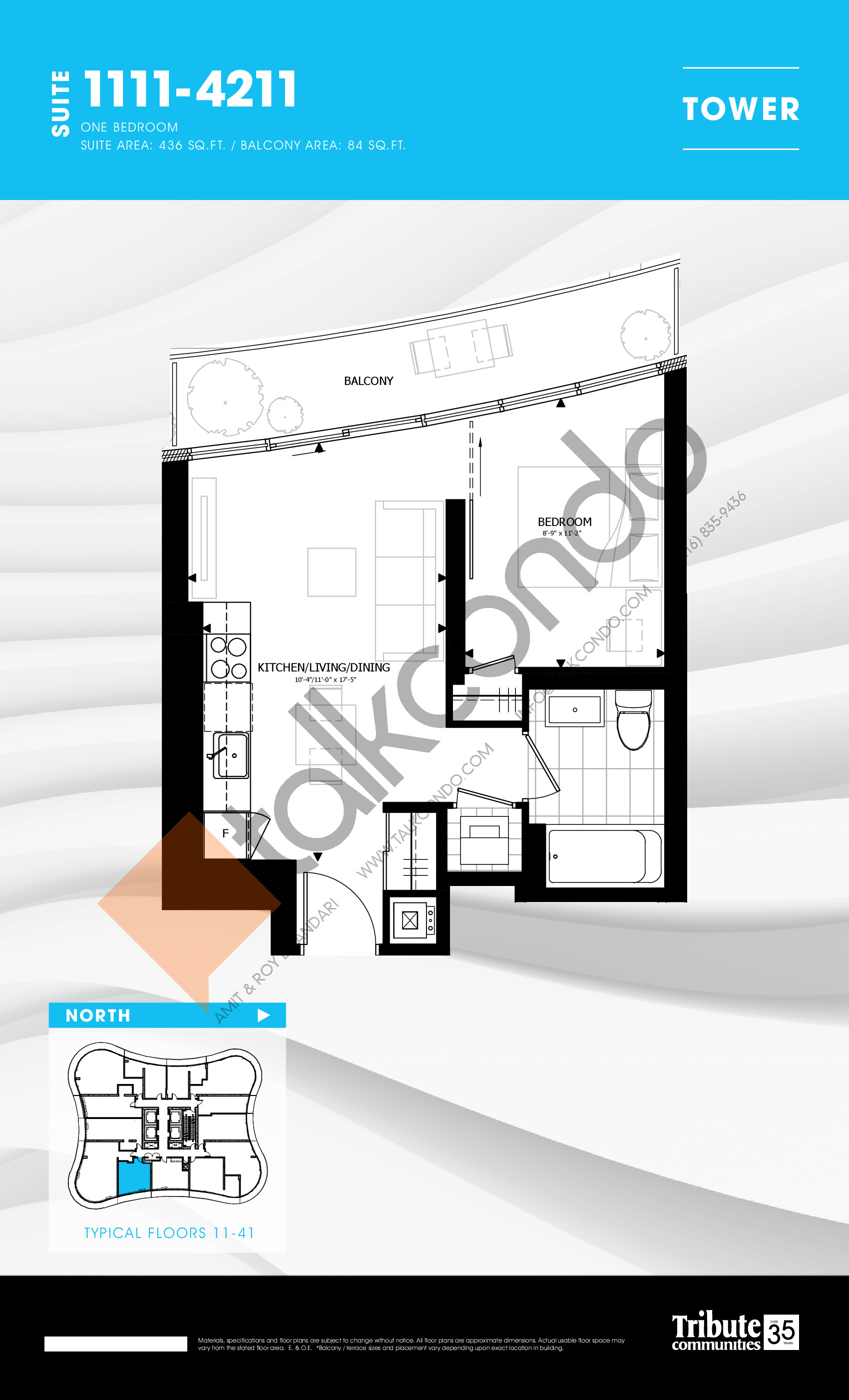 1111-4211 Floor Plan at Stanley Condos - 436 sq.ft