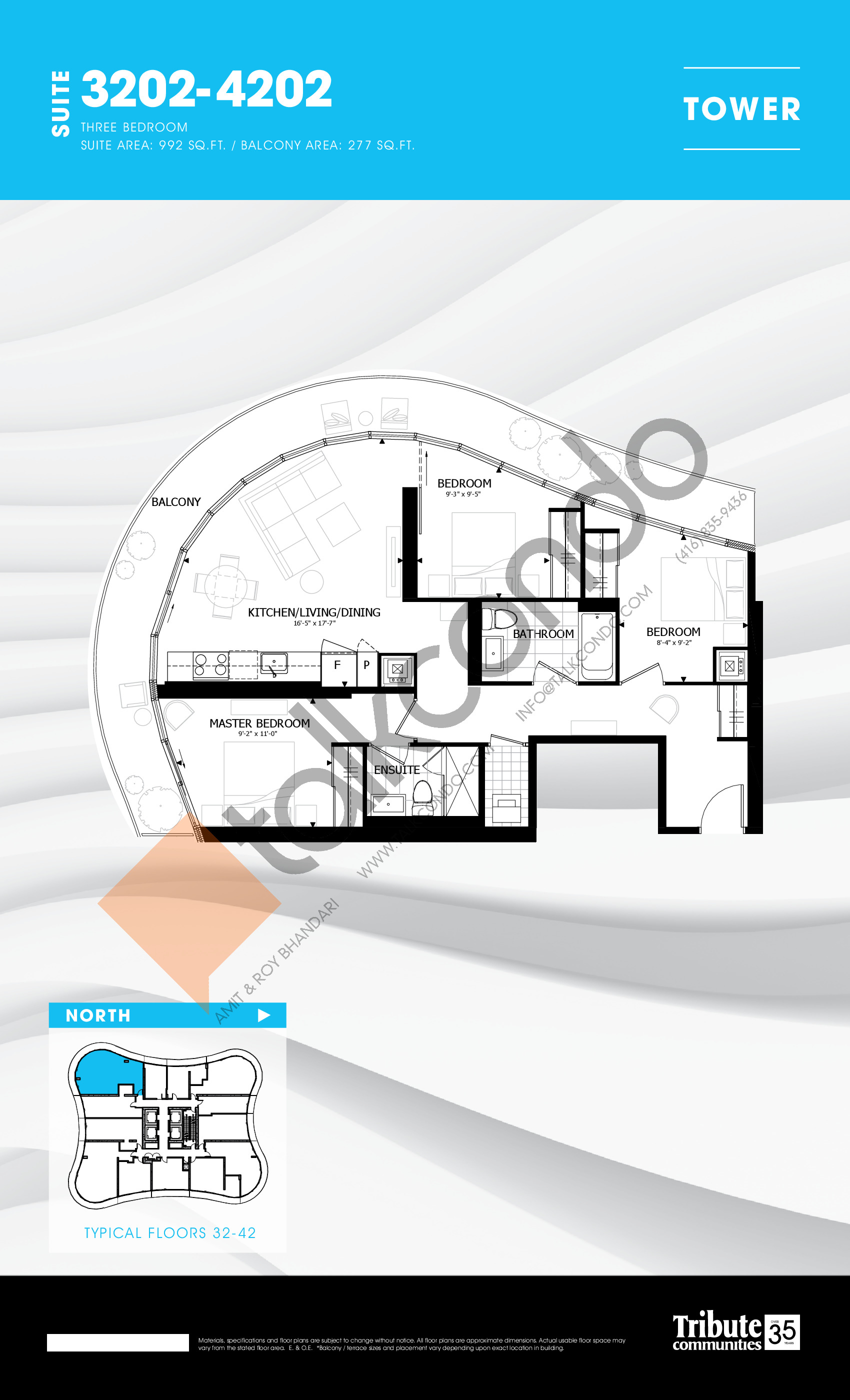 3202-4202 Floor Plan at Stanley Condos - 992 sq.ft