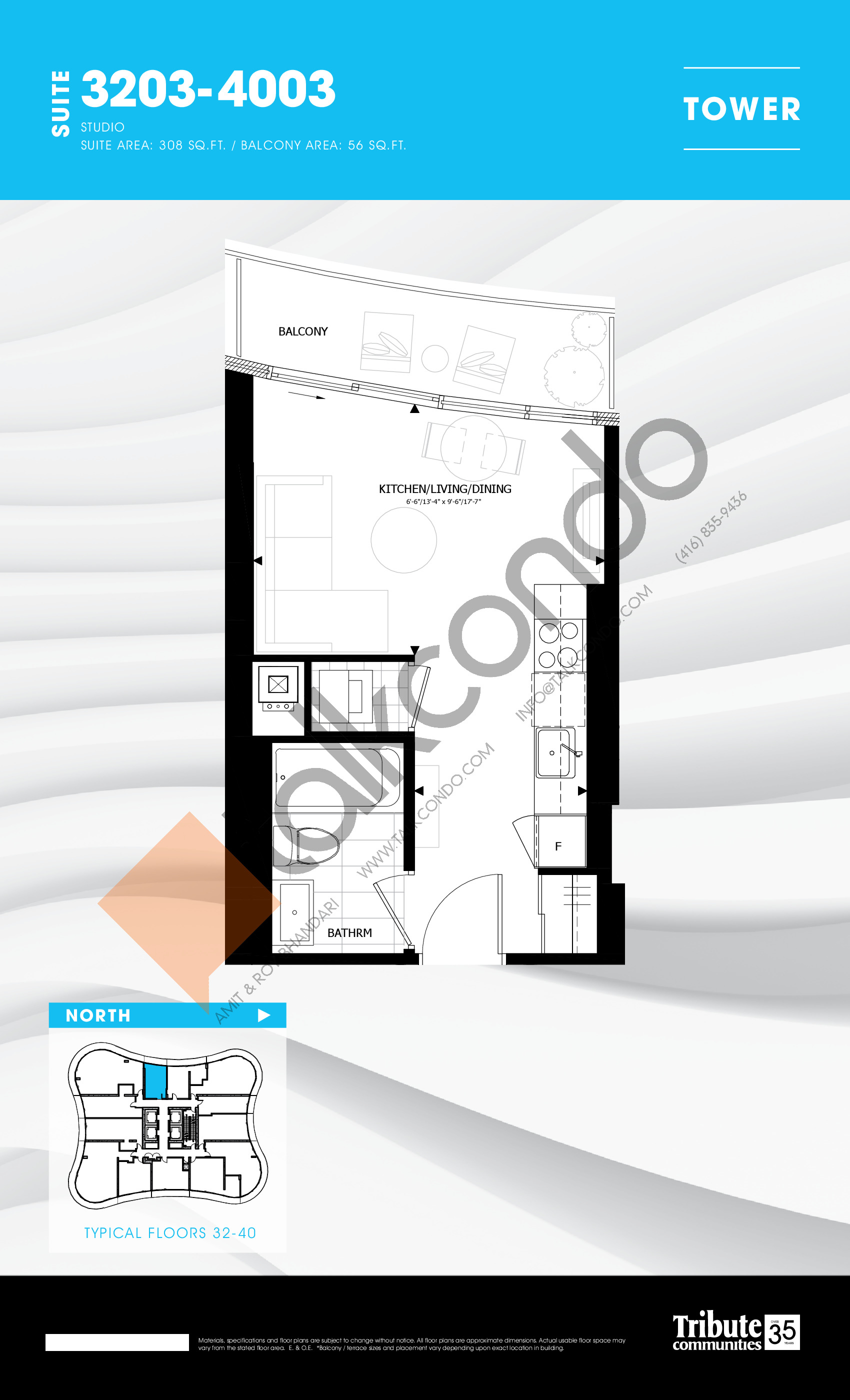 3203-4003 Floor Plan at Stanley Condos - 308 sq.ft