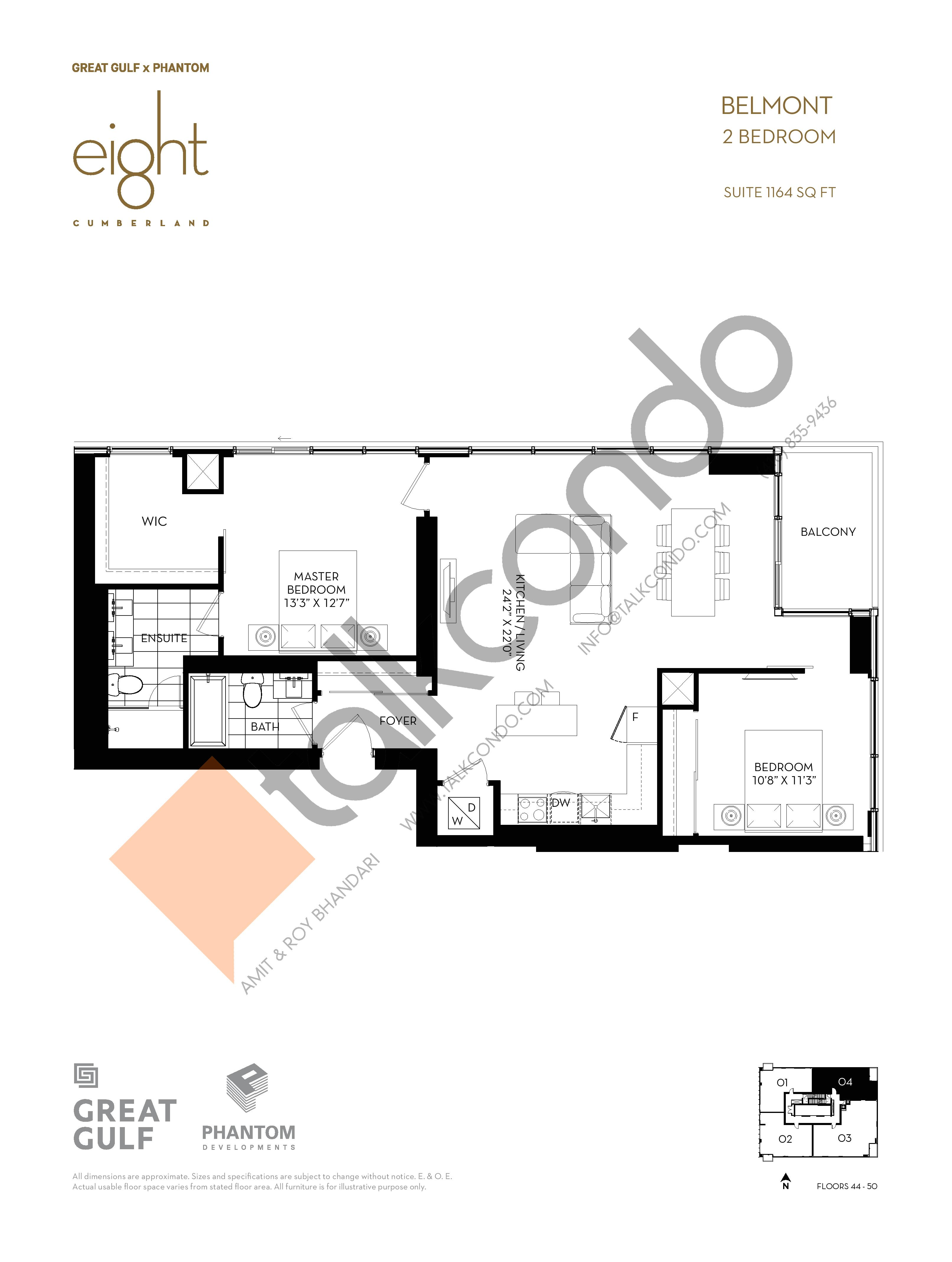 Belmont Floor Plan at 8 Cumberland Condos - 1164 sq.ft