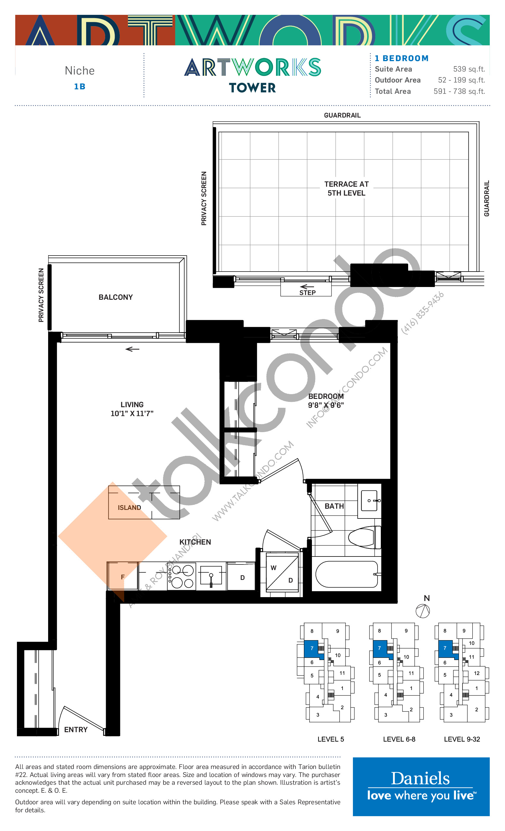 Niche Floor Plan at Artworks Tower Condos - 539 sq.ft