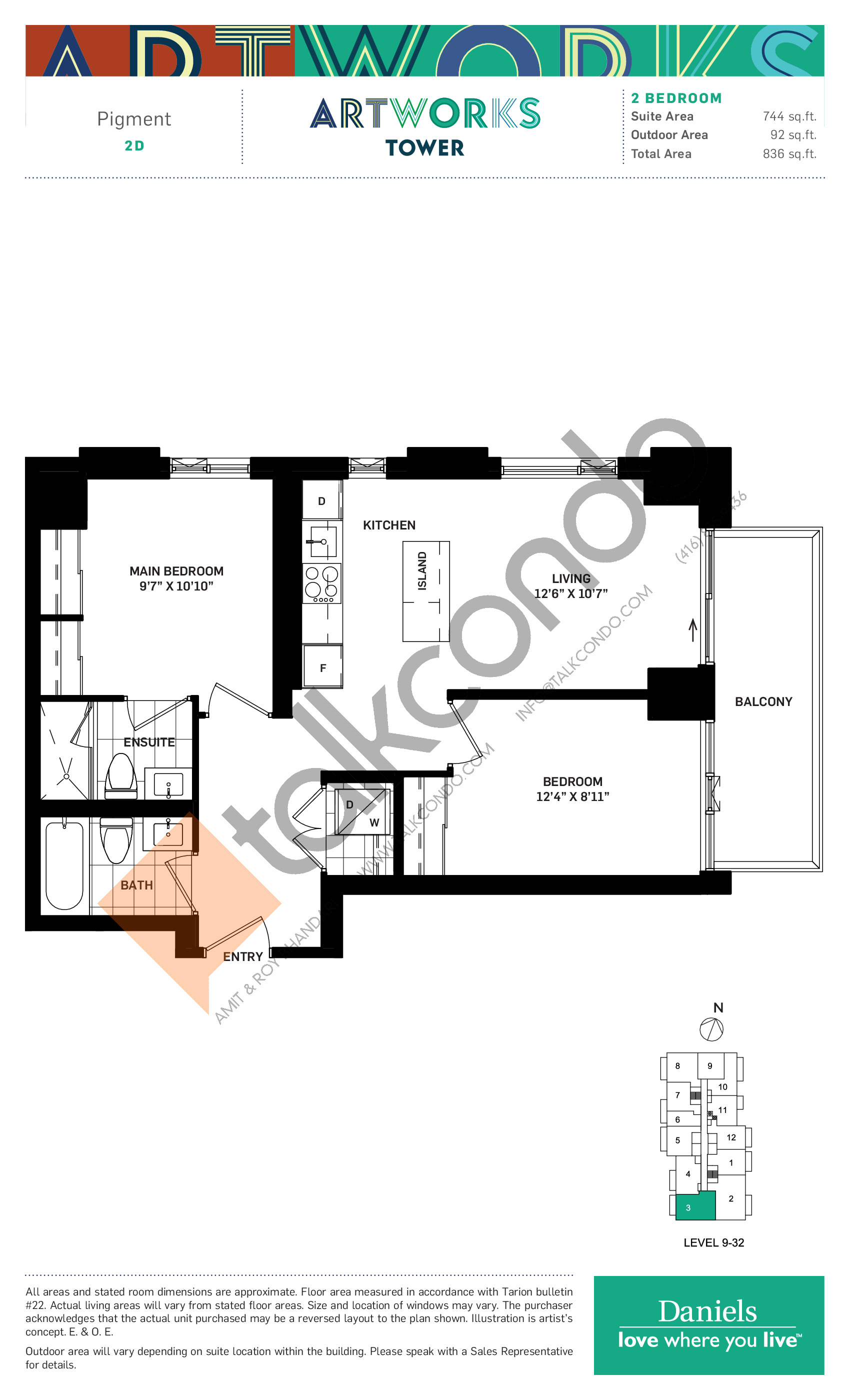 Pigment Floor Plan at Artworks Tower Condos - 744 sq.ft