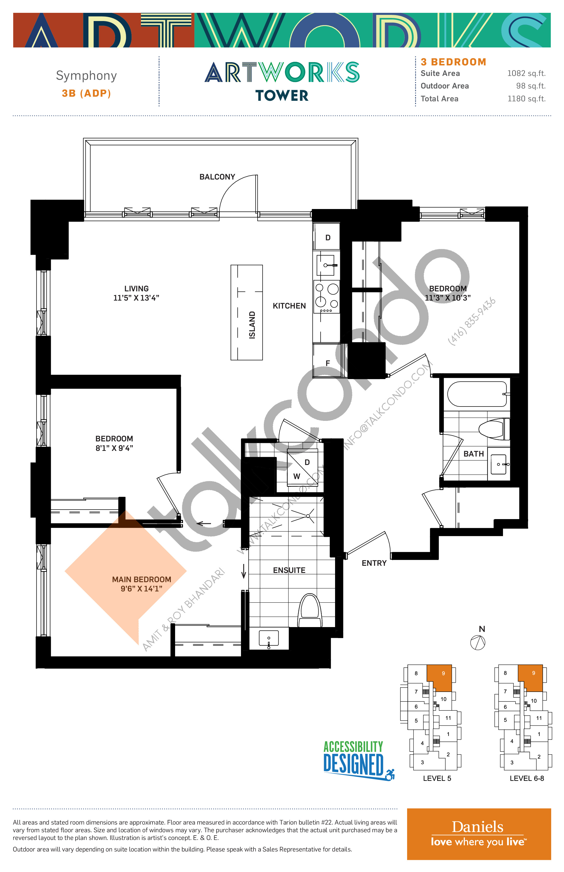 Symphony Floor Plan at Artworks Tower Condos - 1082 sq.ft