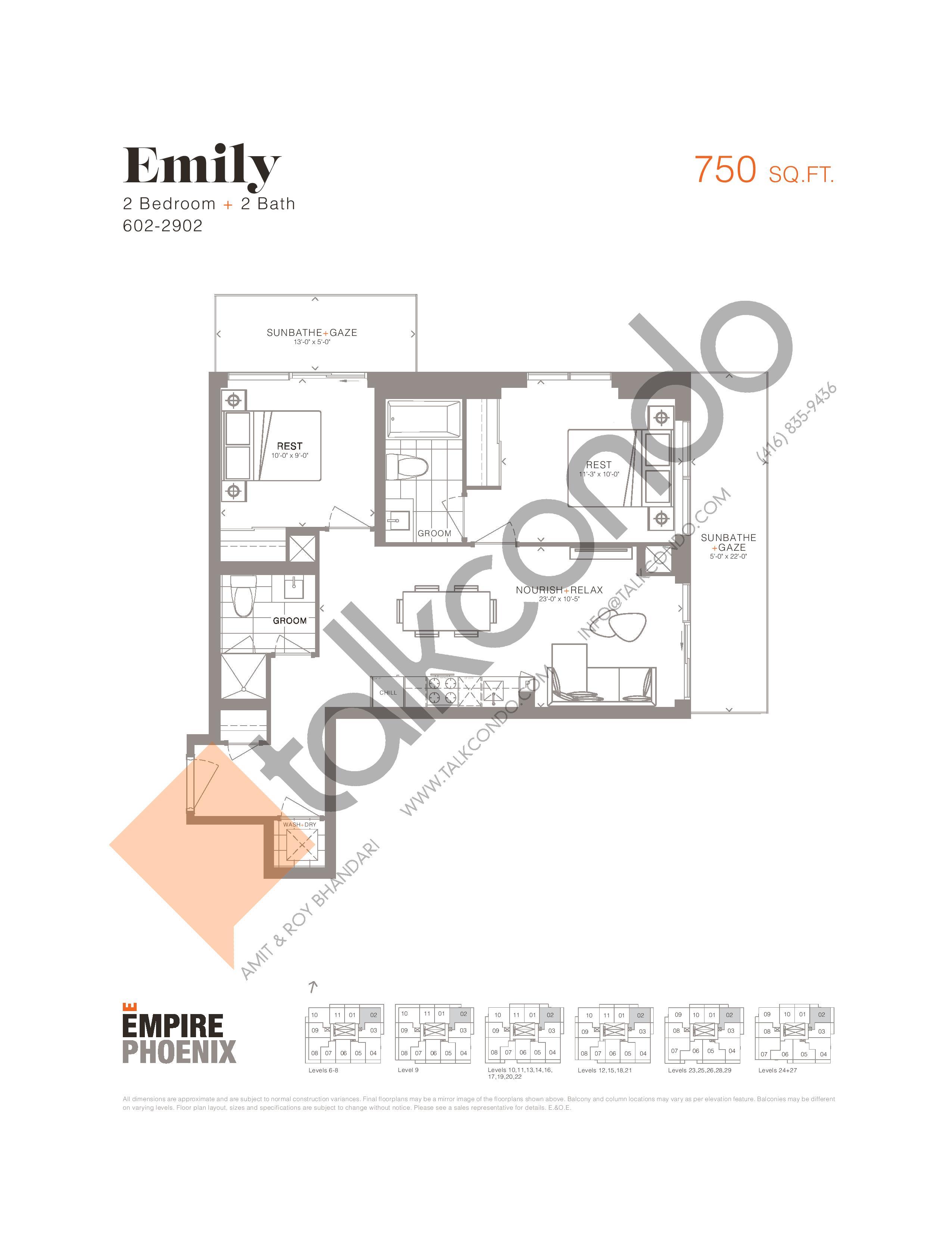 Emily Floor Plan at Empire Phoenix Phase 2 Condos - 750 sq.ft