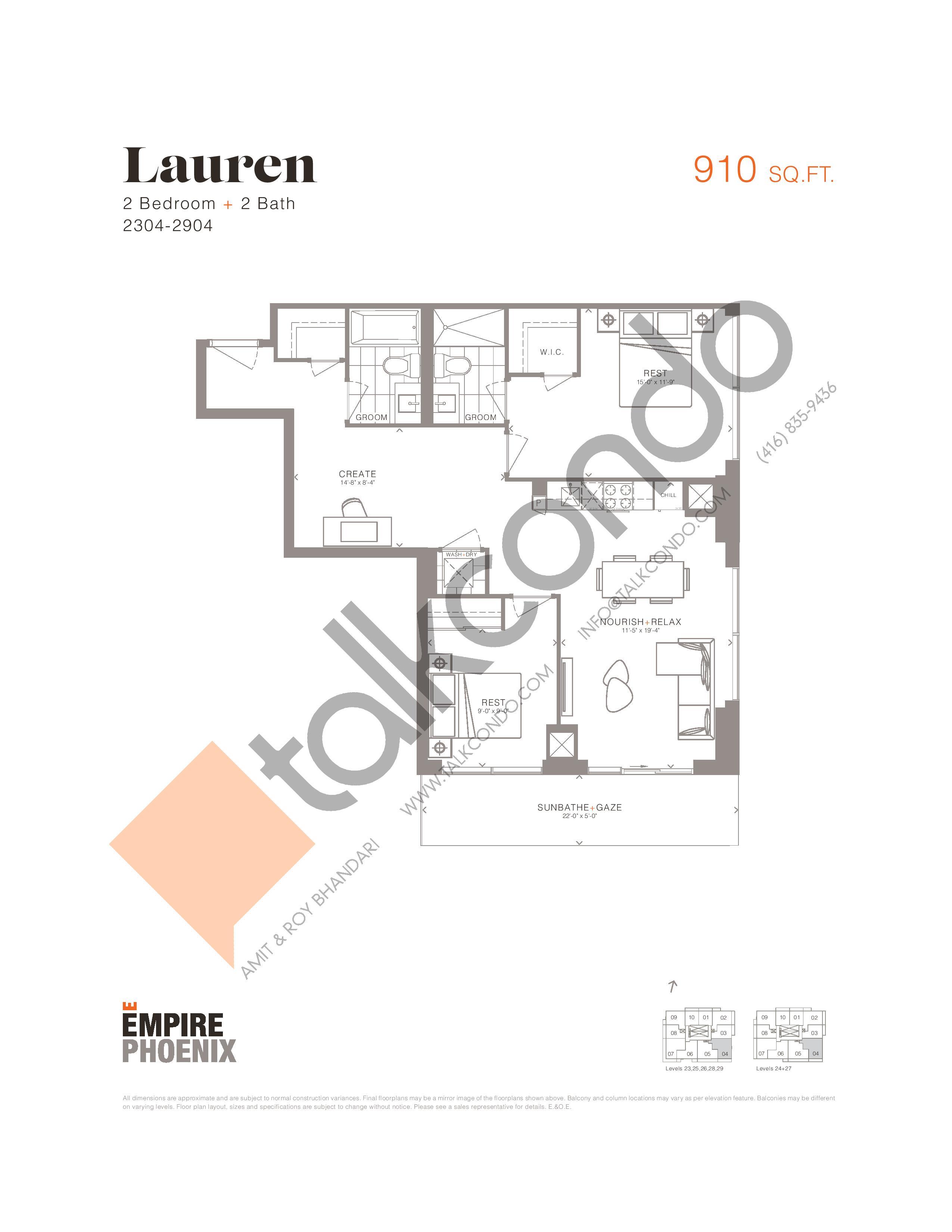 Lauren Floor Plan at Empire Phoenix Phase 2 Condos - 910 sq.ft