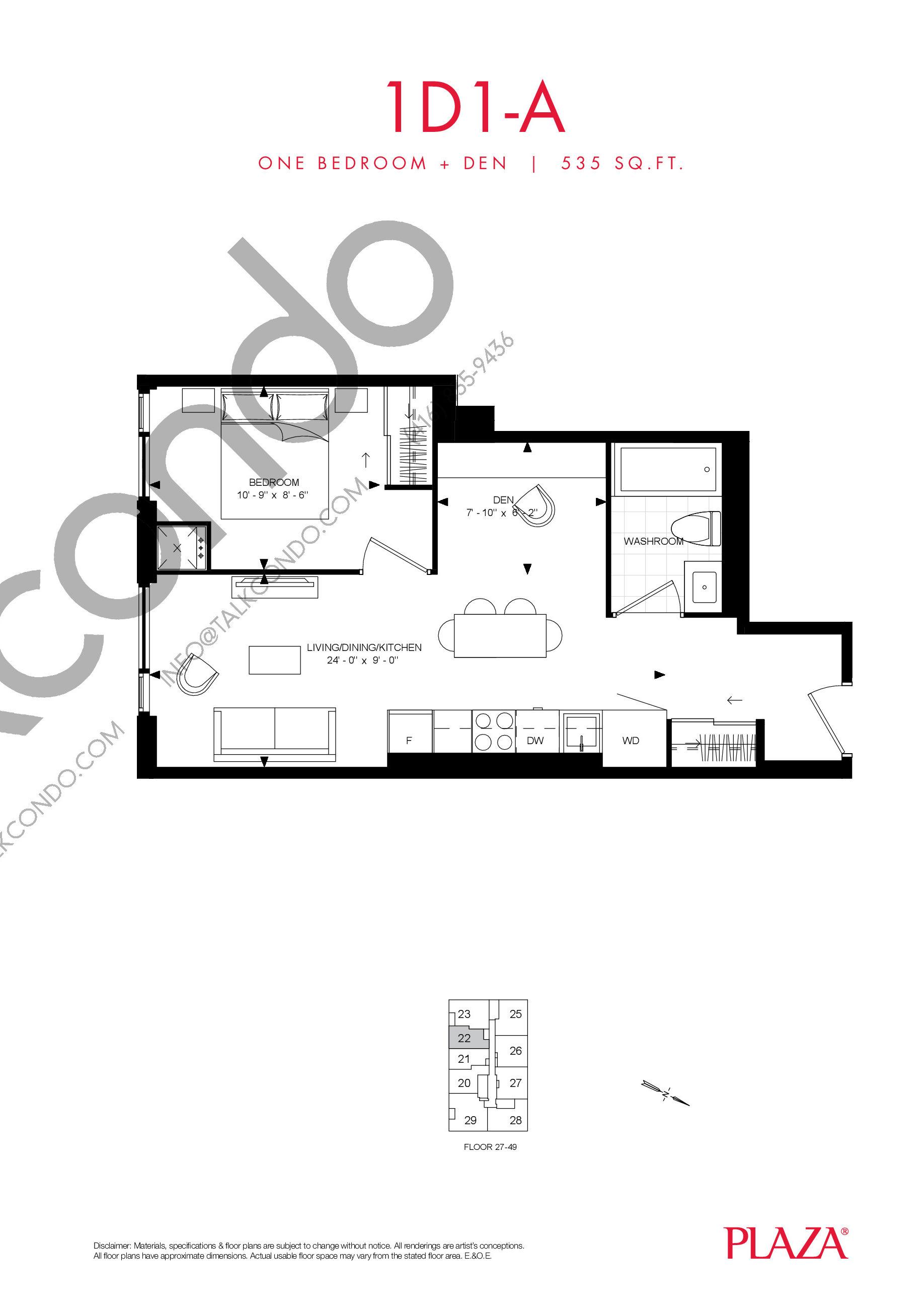 1D1-A Floor Plan at Encore Theatre District Condos - 535 sq.ft