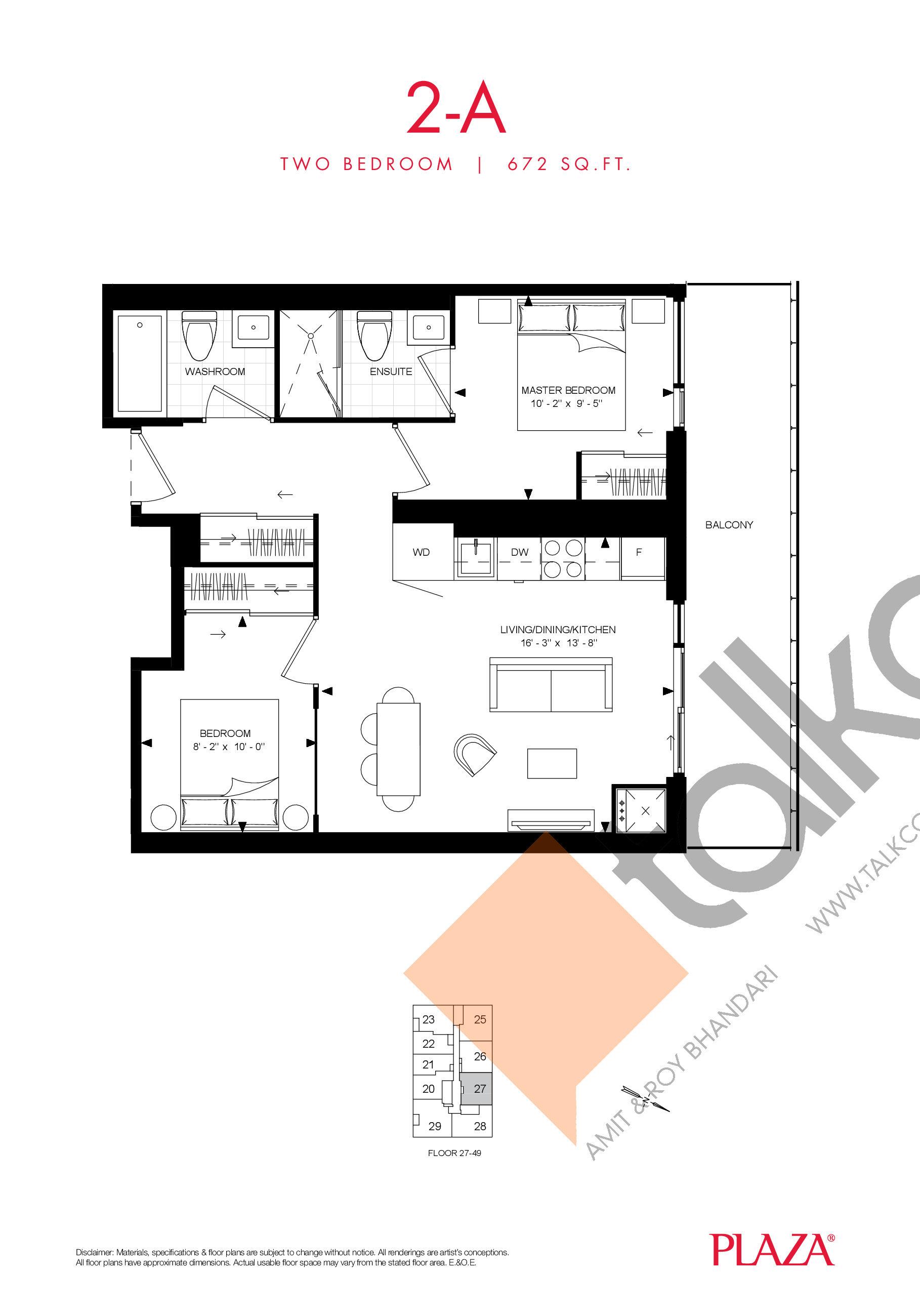 2-A Floor Plan at Encore Theatre District Condos - 672 sq.ft