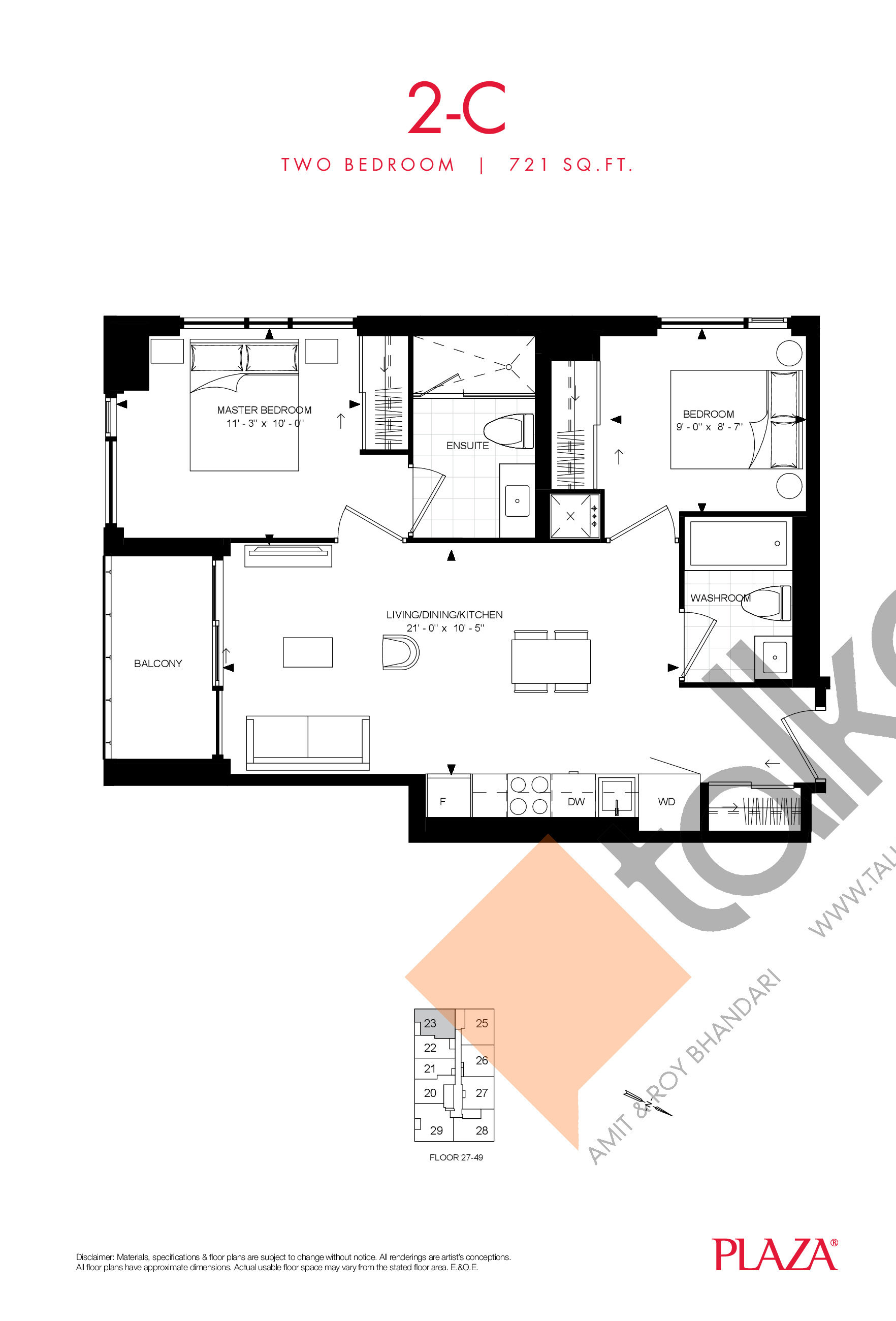 2-C Floor Plan at Encore Theatre District Condos - 721 sq.ft