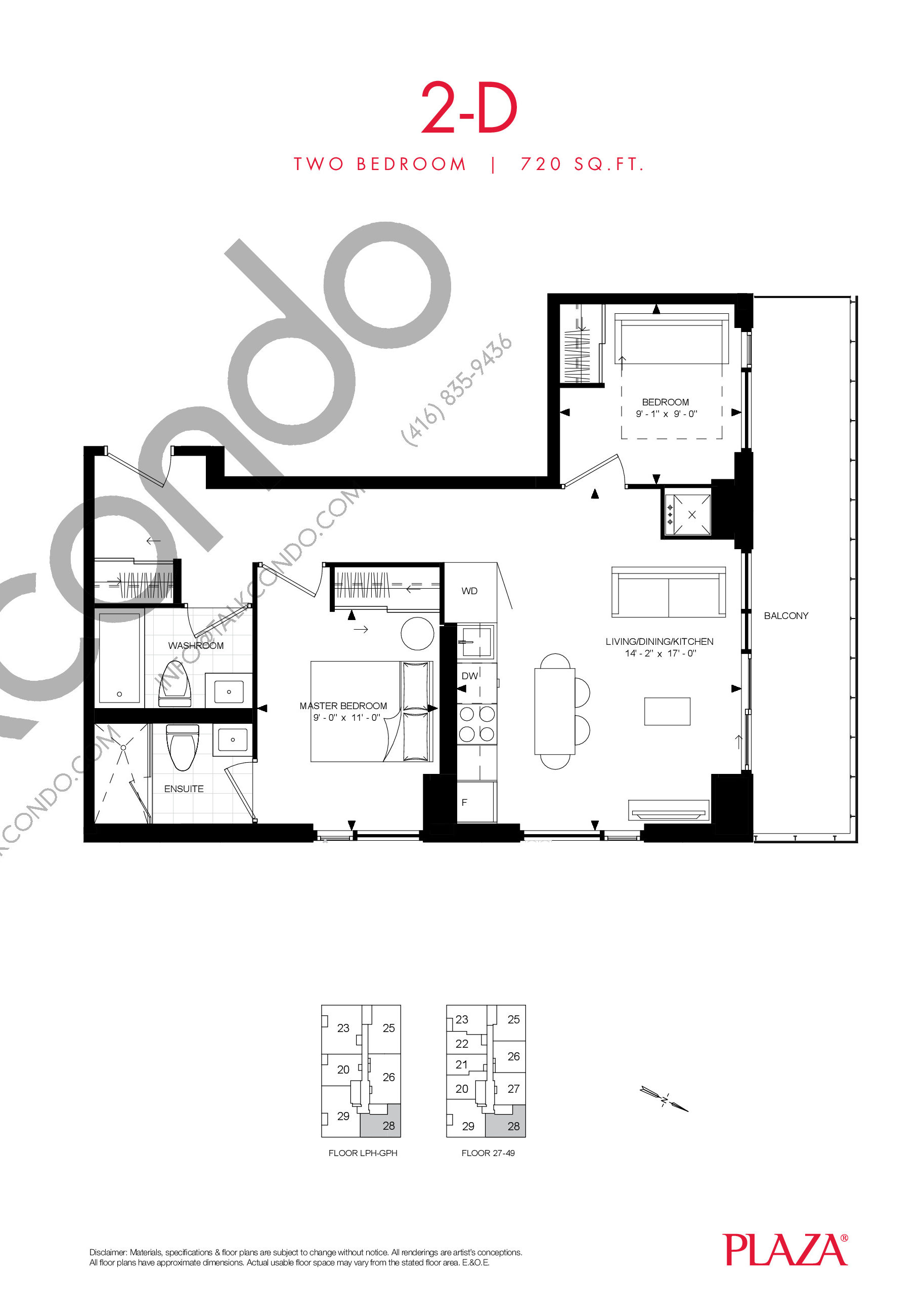 2-D Floor Plan at Encore Theatre District Condos - 720 sq.ft