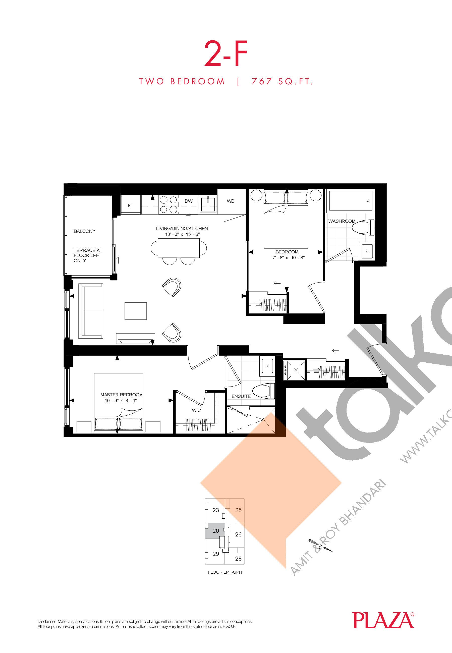 2-F Floor Plan at Encore Theatre District Condos - 767 sq.ft