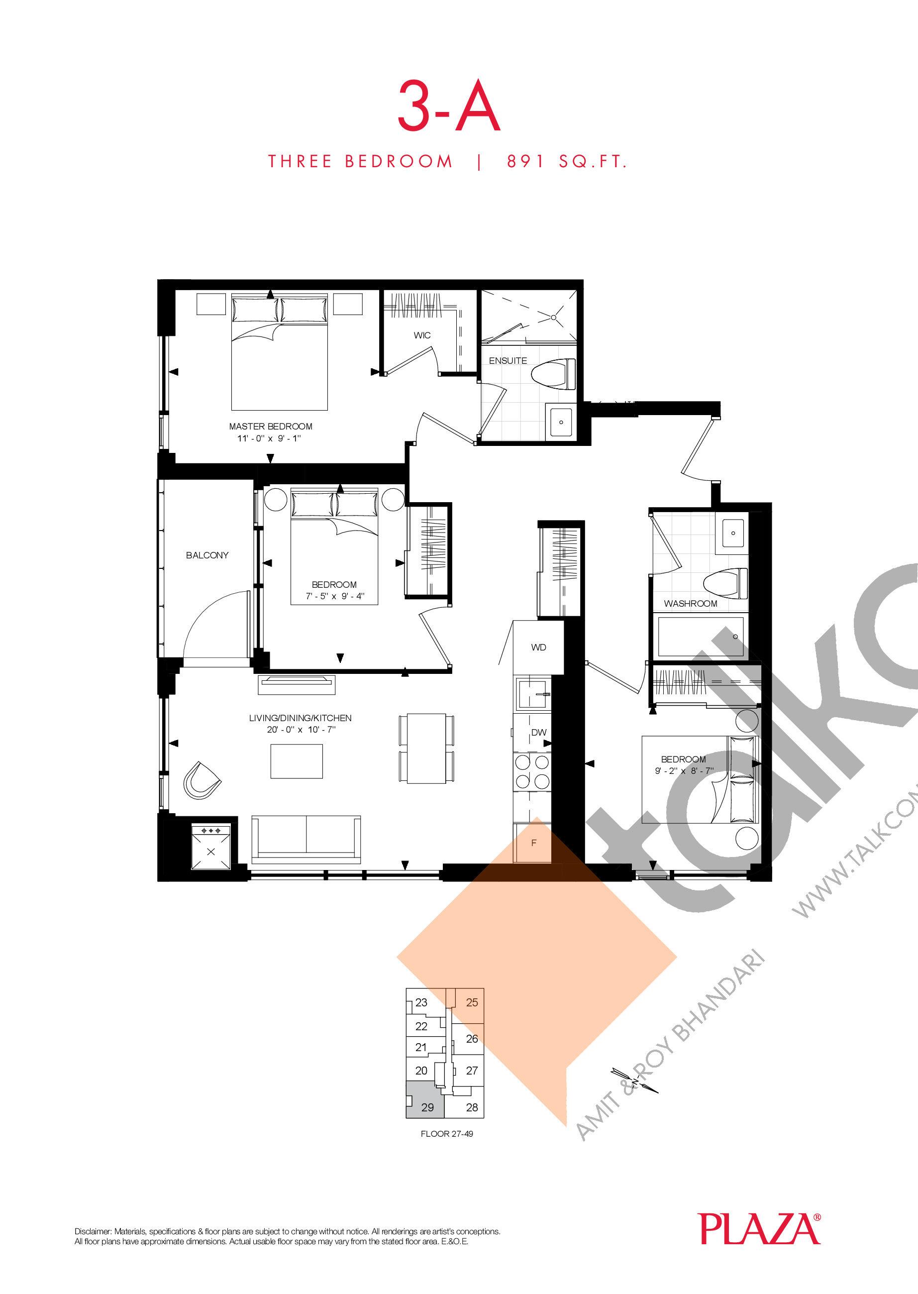 3-A Floor Plan at Encore Theatre District Condos - 891 sq.ft