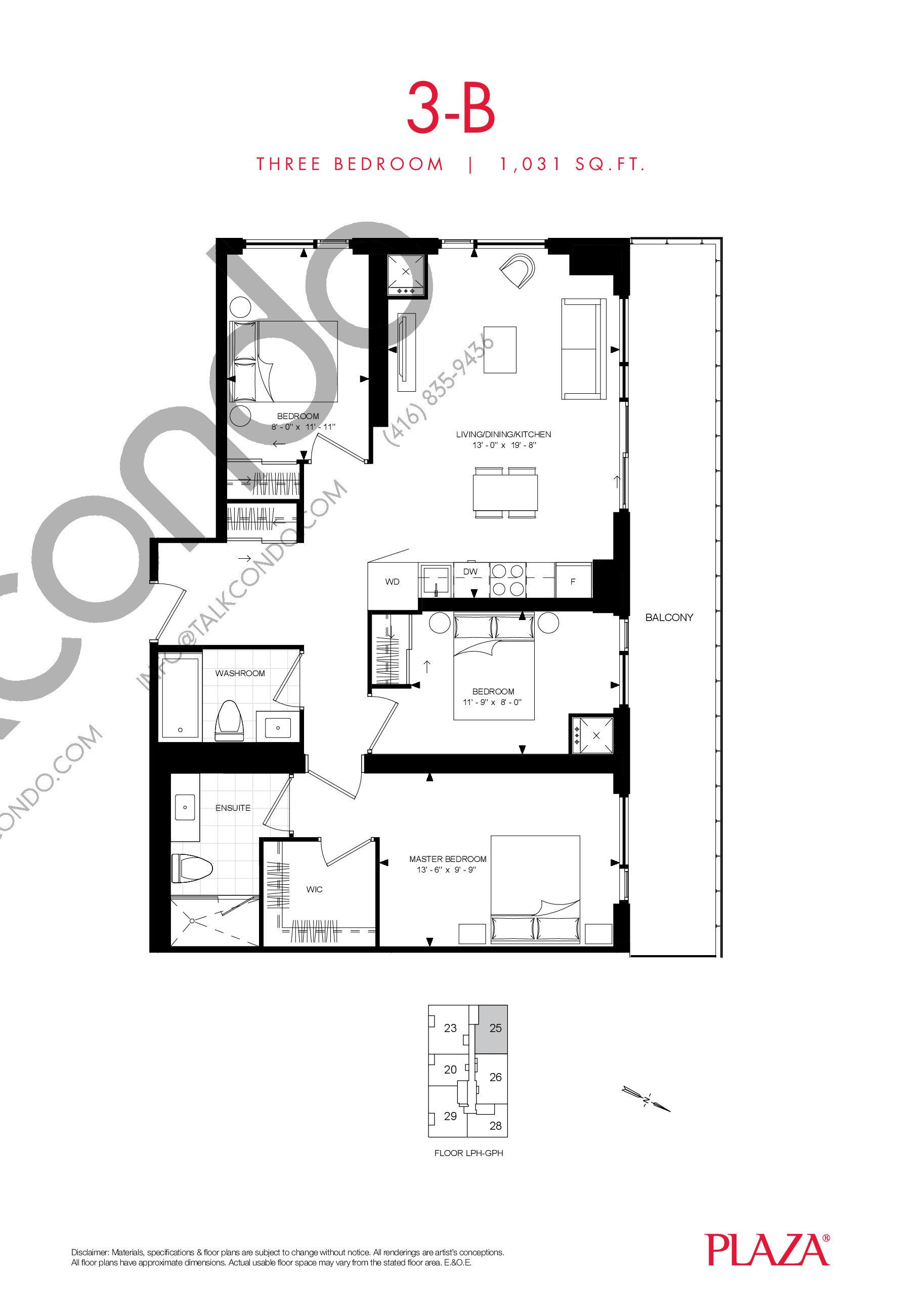 3-B Floor Plan at Encore Theatre District Condos - 1031 sq.ft