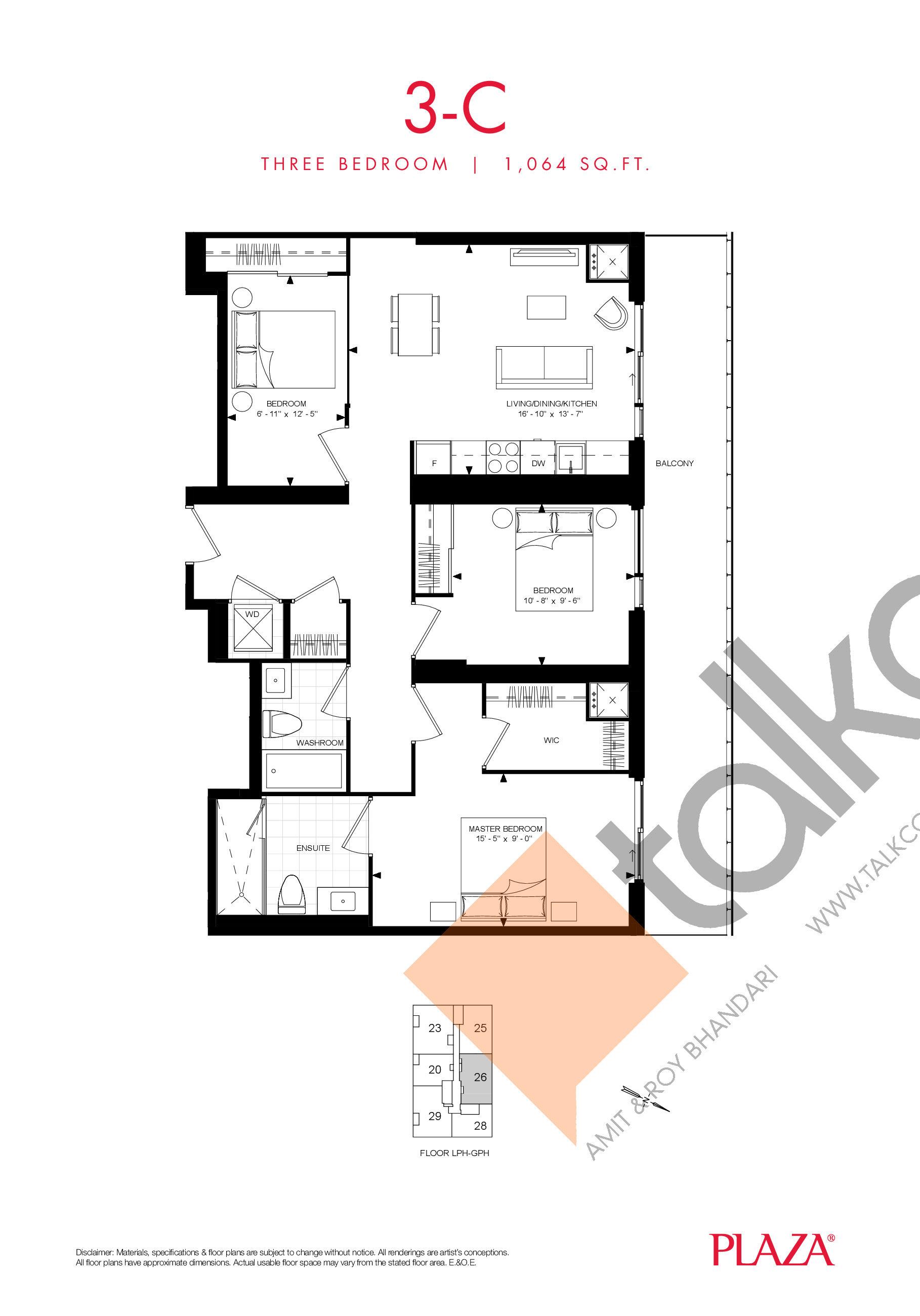 3-C Floor Plan at Encore Theatre District Condos - 1064 sq.ft
