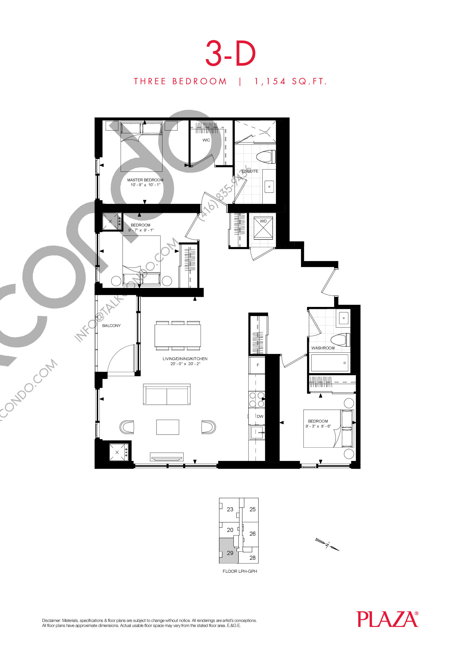 3-D Floor Plan at Encore Theatre District Condos - 1154 sq.ft