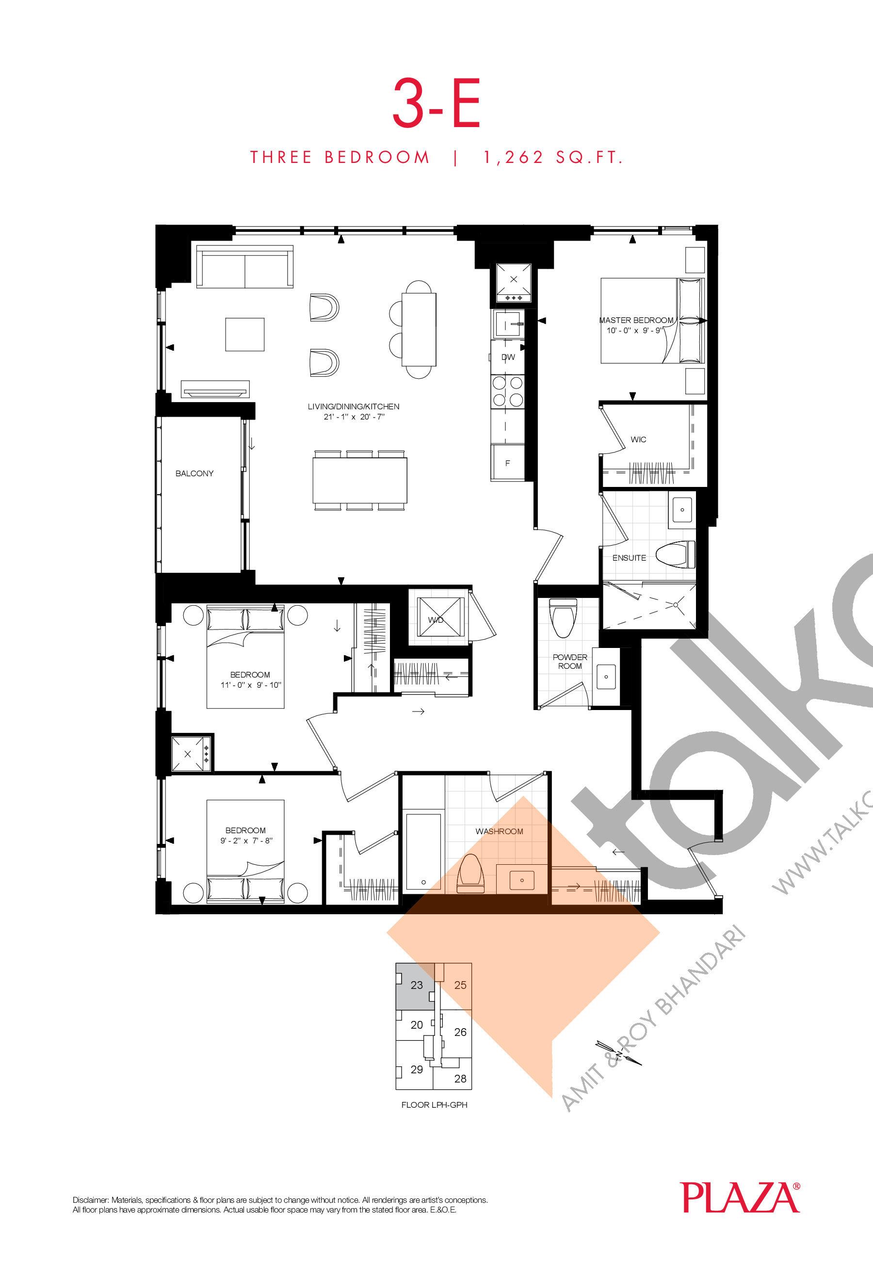 3-E Floor Plan at Encore Theatre District Condos - 1262 sq.ft