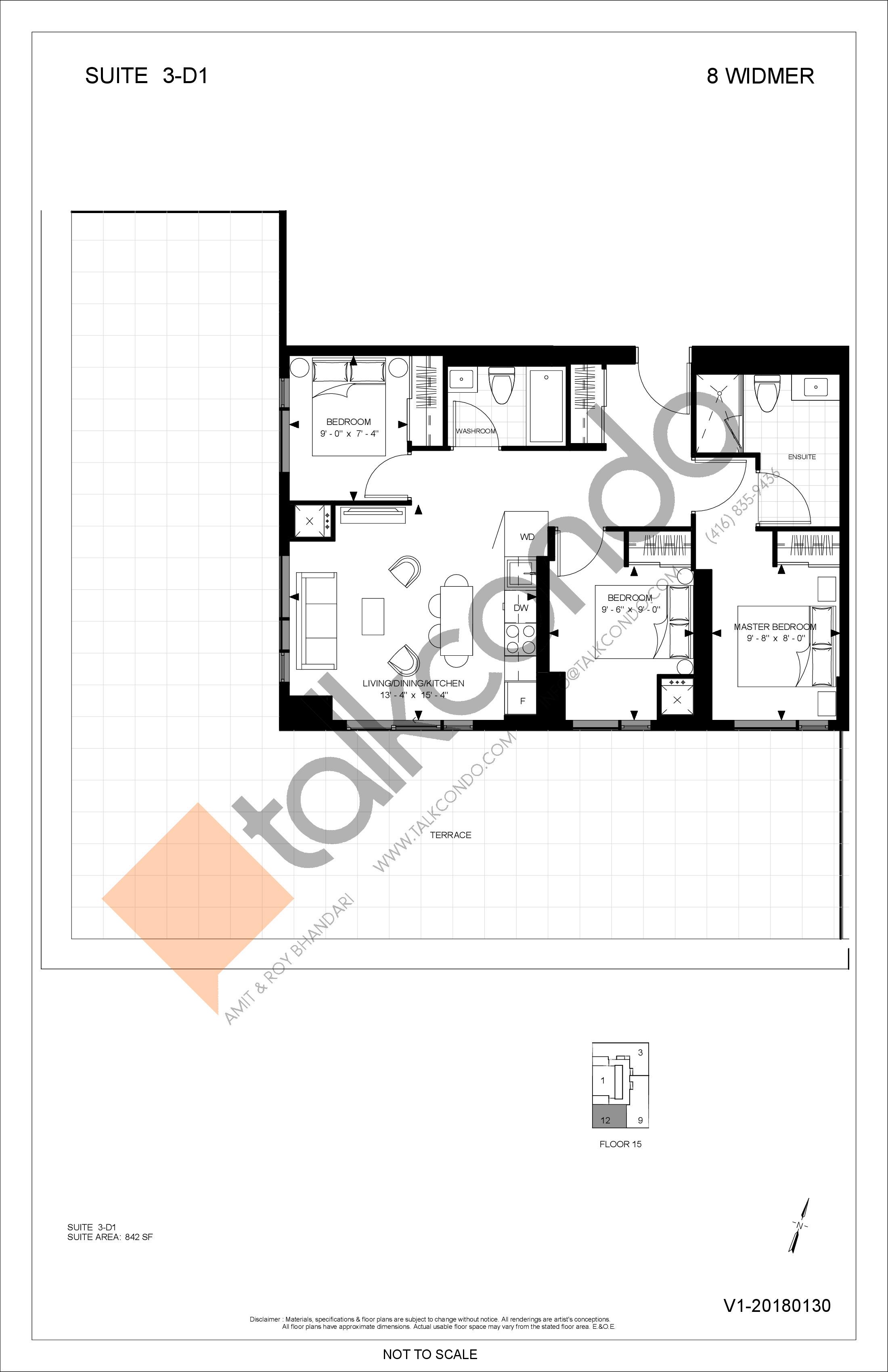 3-D1 Floor Plan at Encore Theatre District Condos - 842 sq.ft