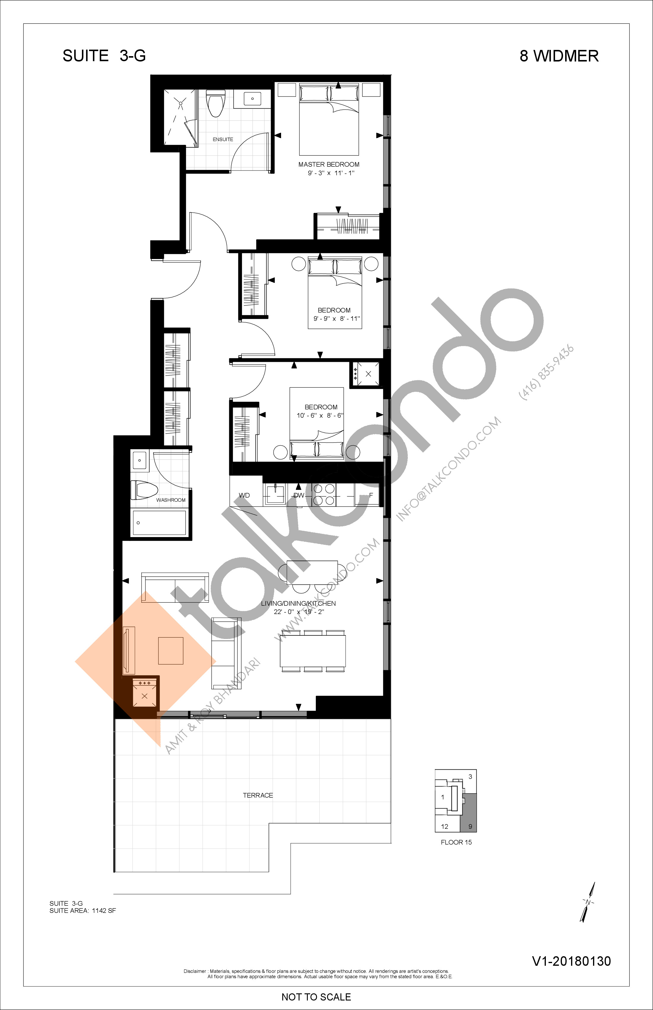 3-G Floor Plan at Encore Theatre District Condos - 1142 sq.ft