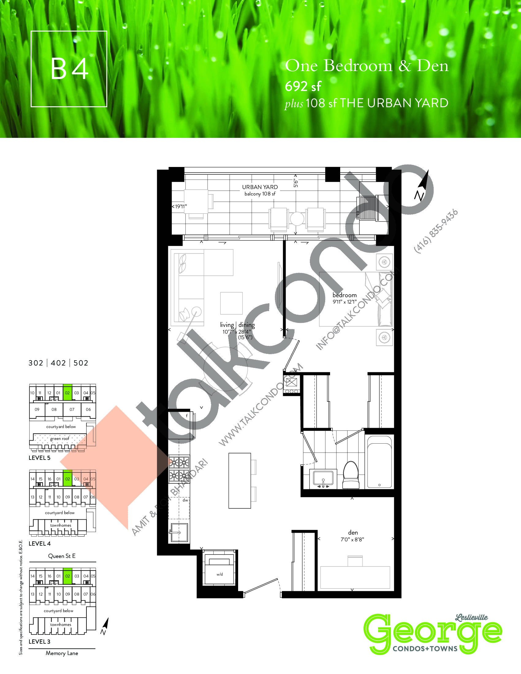 B4 Floor Plan at George Condos & Towns - 692 sq.ft