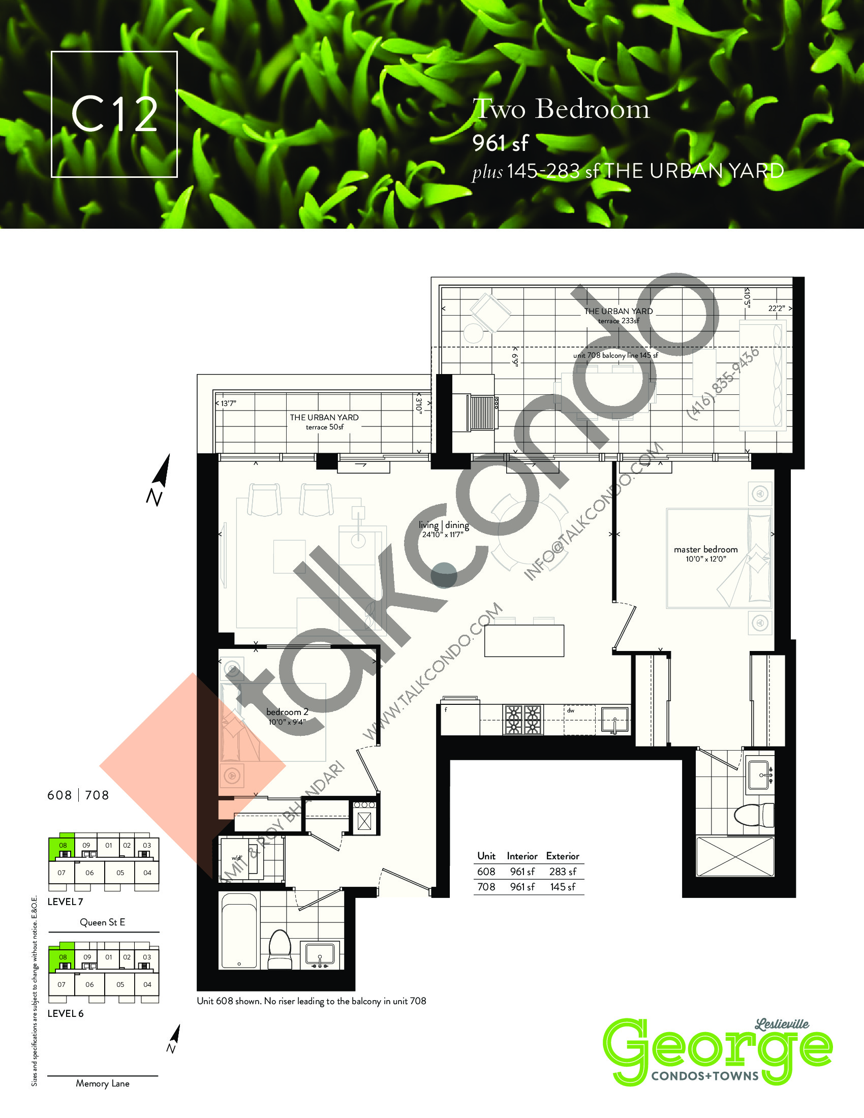 C12 Floor Plan at George Condos & Towns - 961 sq.ft