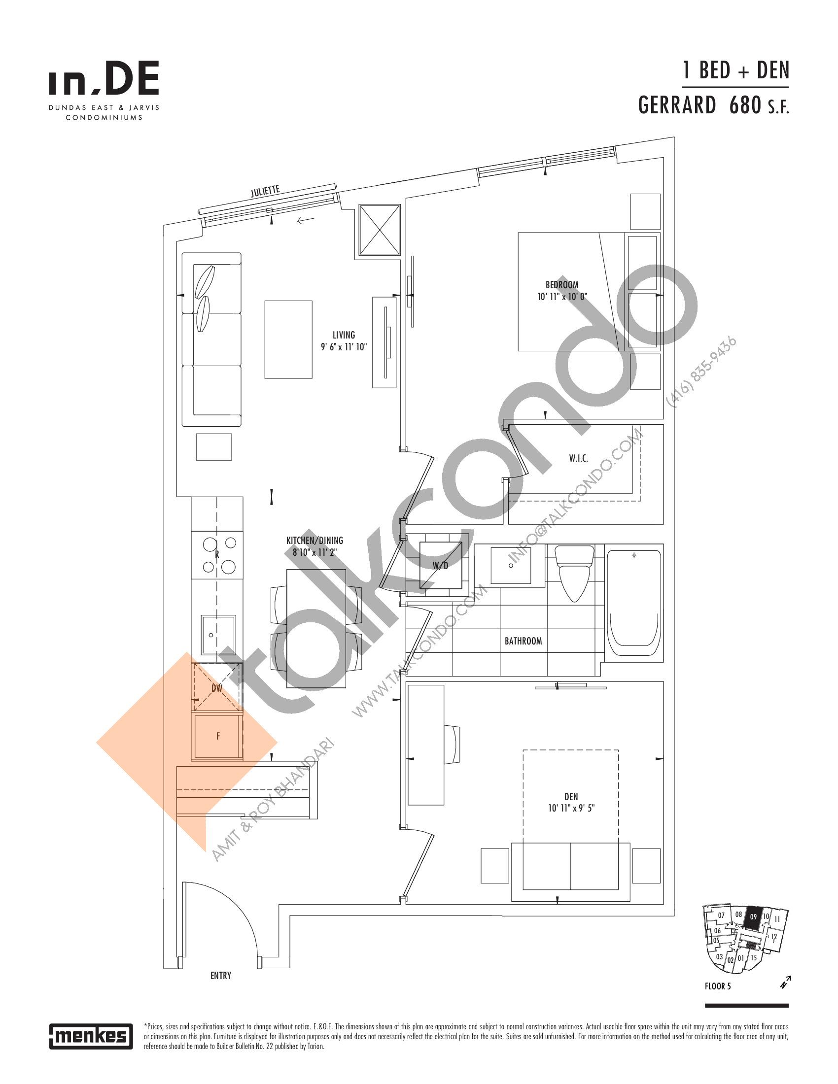 Gerrard Floor Plan at in.DE Condos - 680 sq.ft