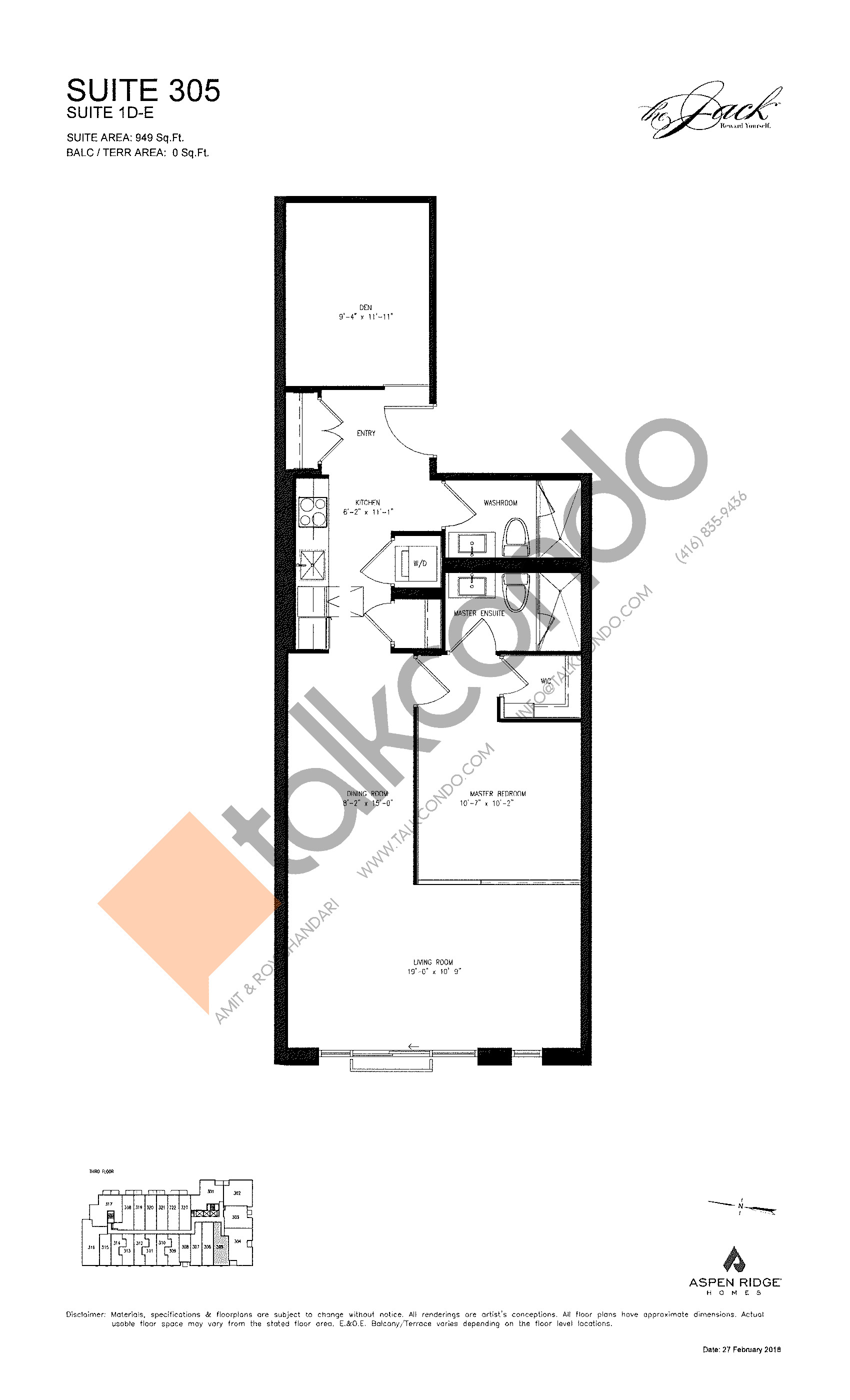 Suite 305 Floor Plan at The Jack Condos - 949 sq.ft