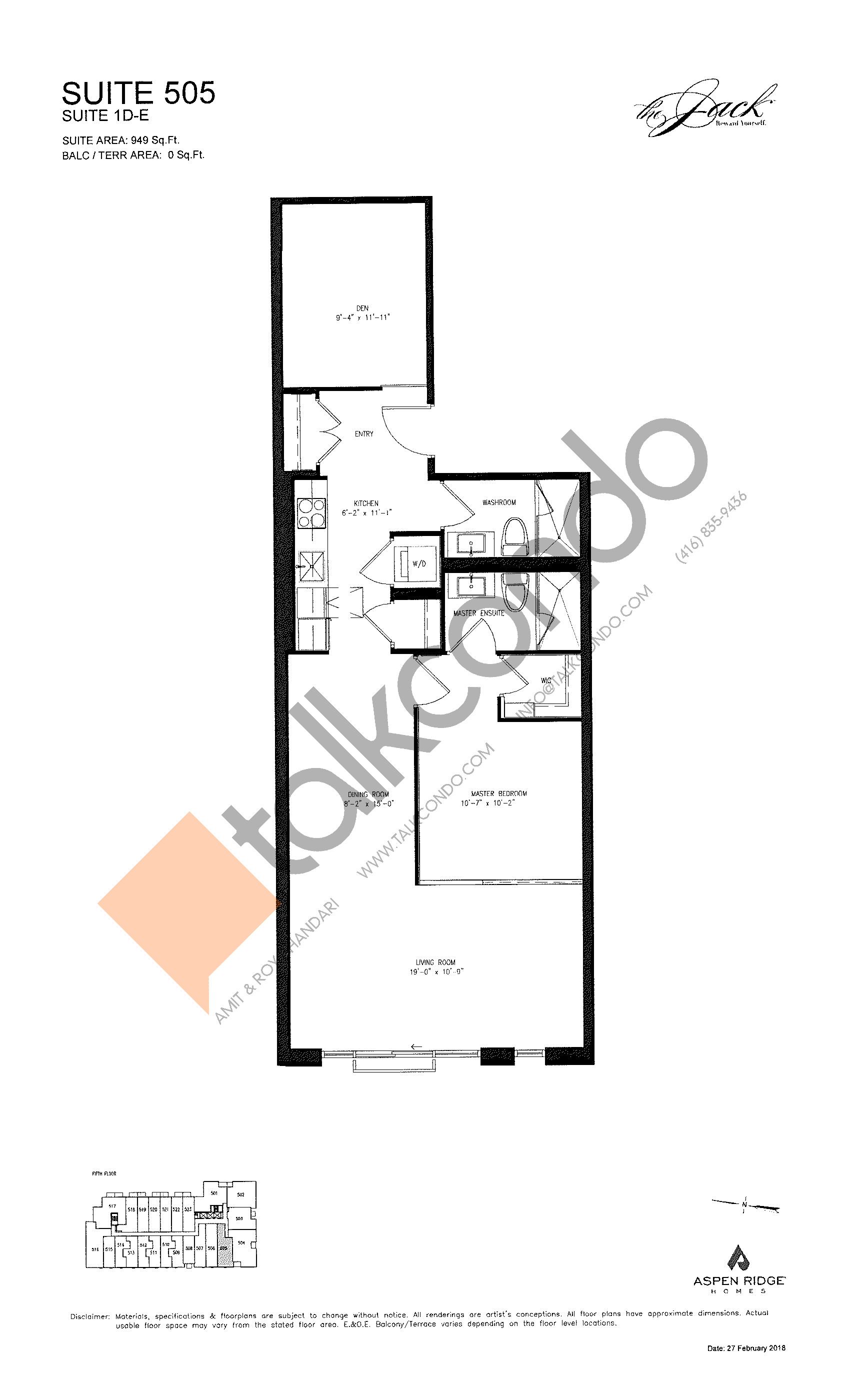 Suite 505 Floor Plan at The Jack Condos - 949 sq.ft