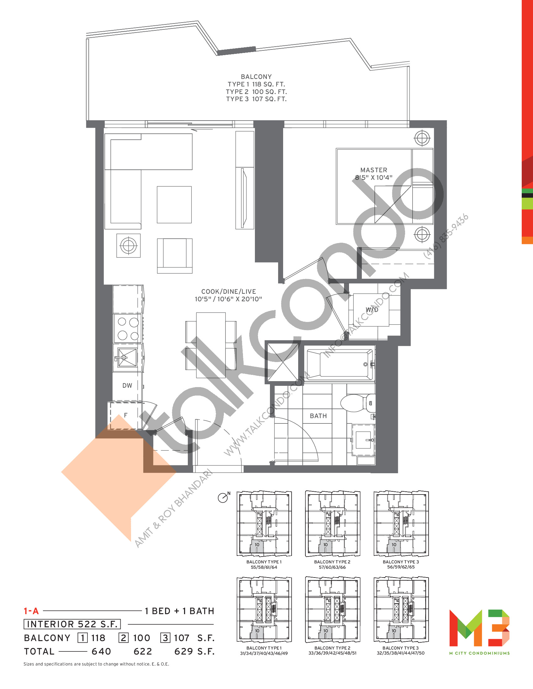 1-A Floor Plan at M3 Condos - 522 sq.ft