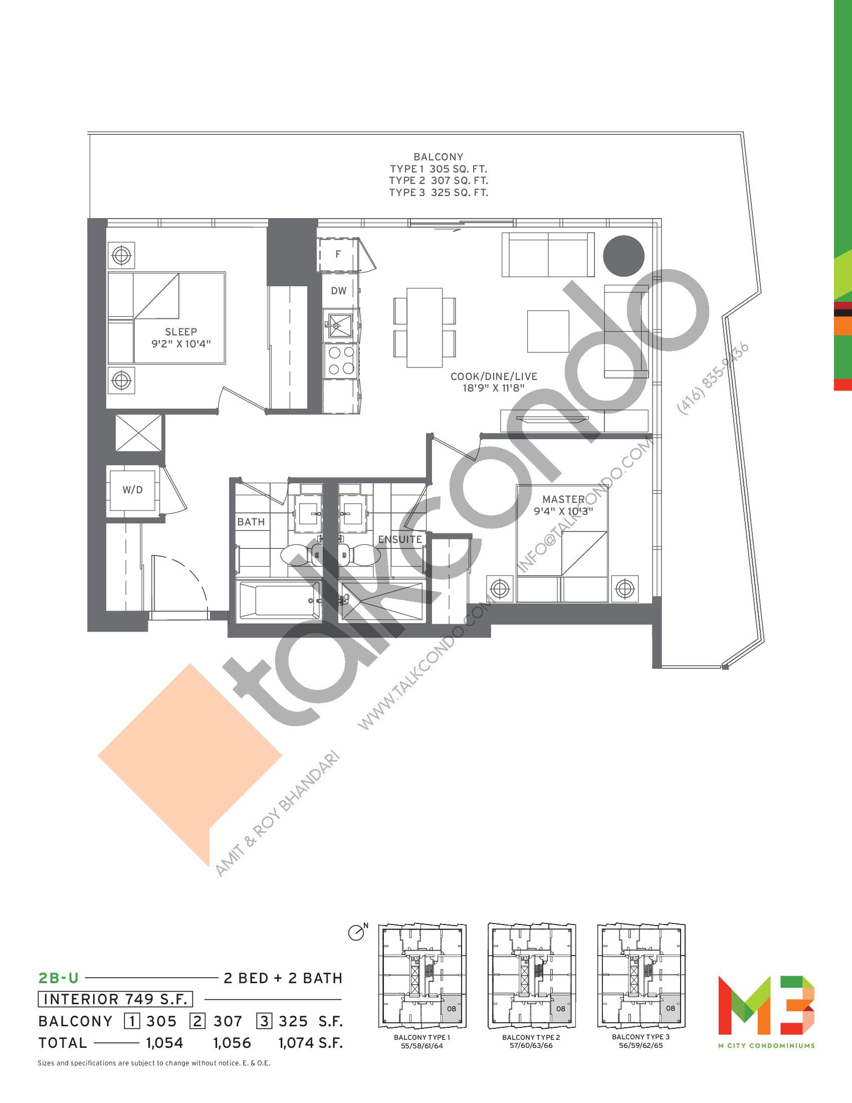 2B-U Floor Plan at M3 Condos - 749 sq.ft
