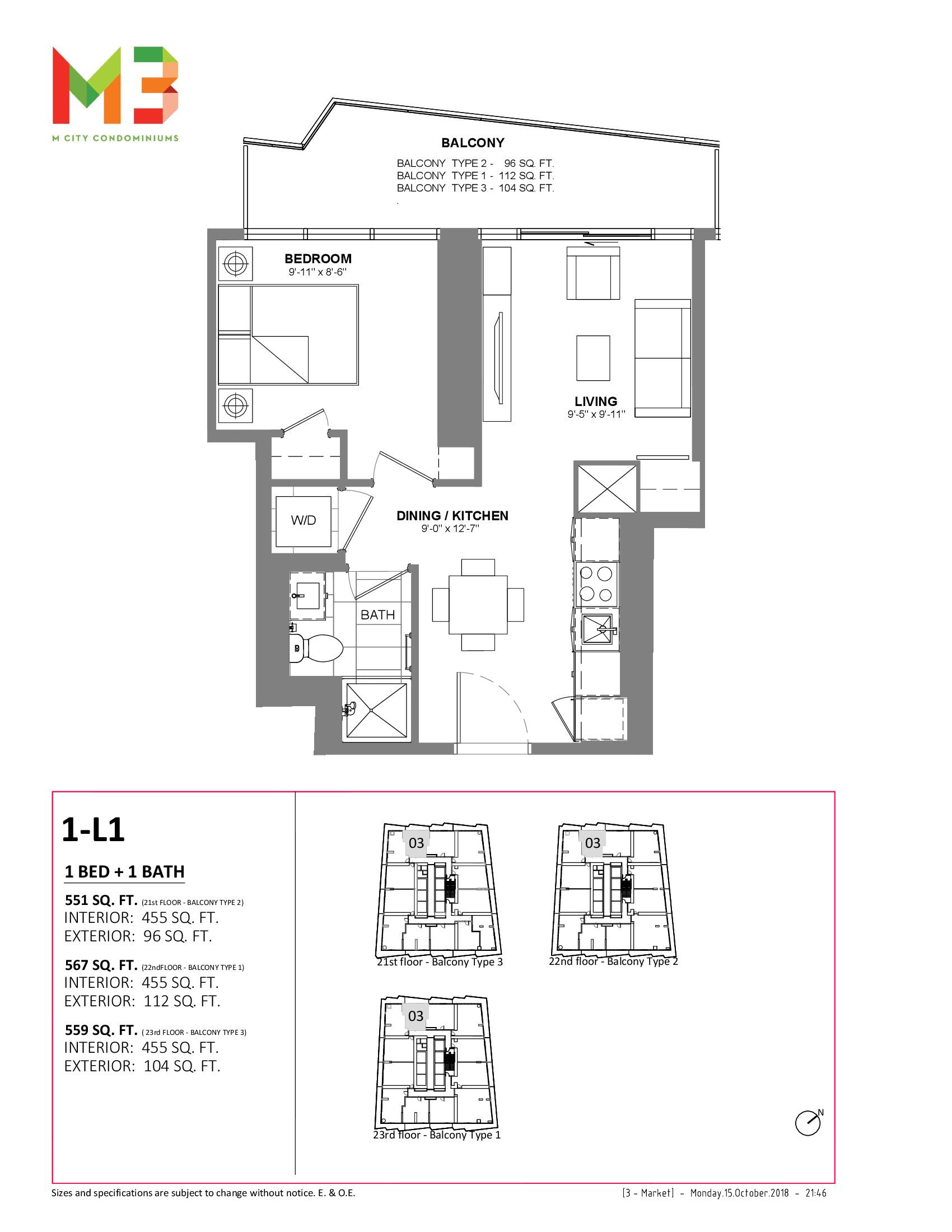 1-L1 Floor Plan at M3 Condos - 455 sq.ft
