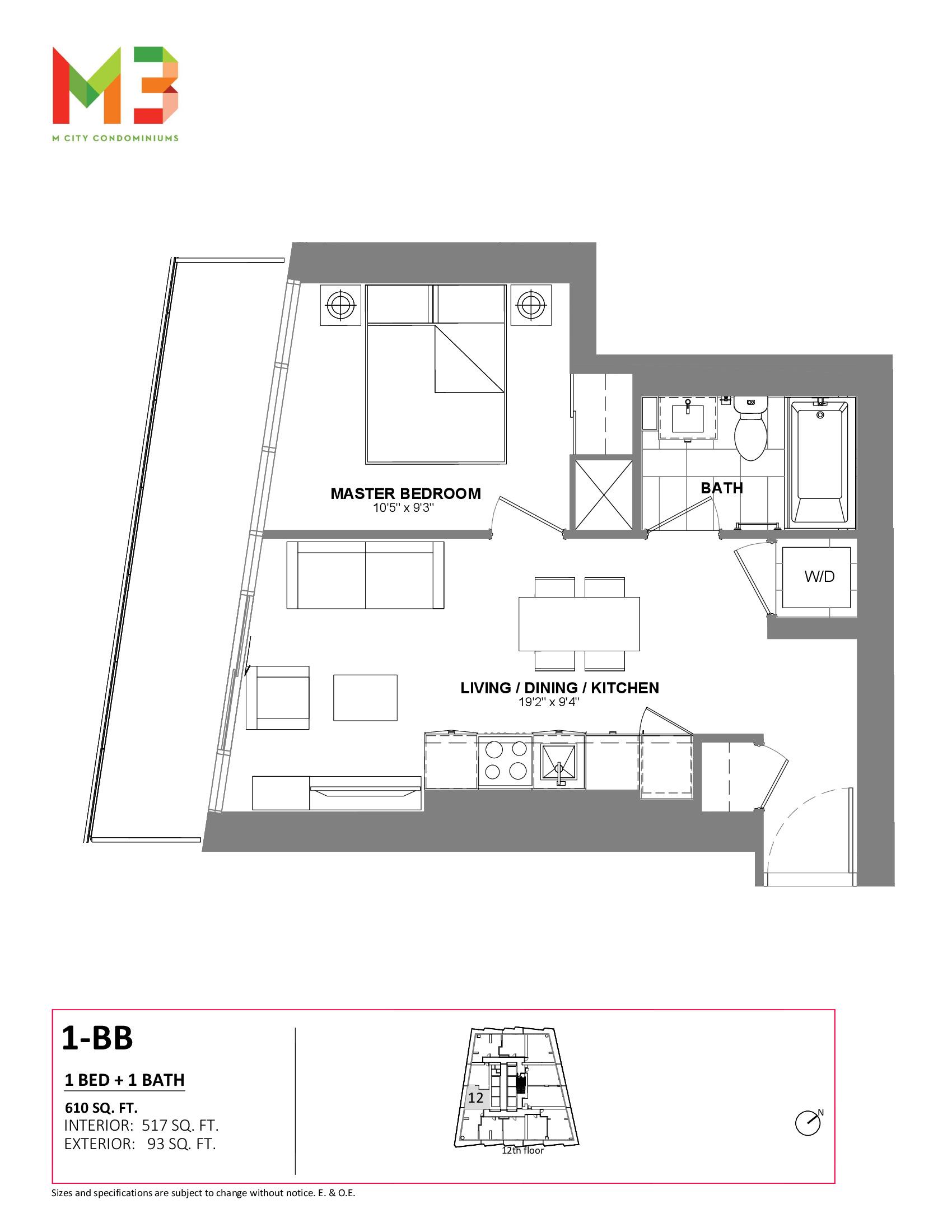 1-BB Floor Plan at M3 Condos - 517 sq.ft