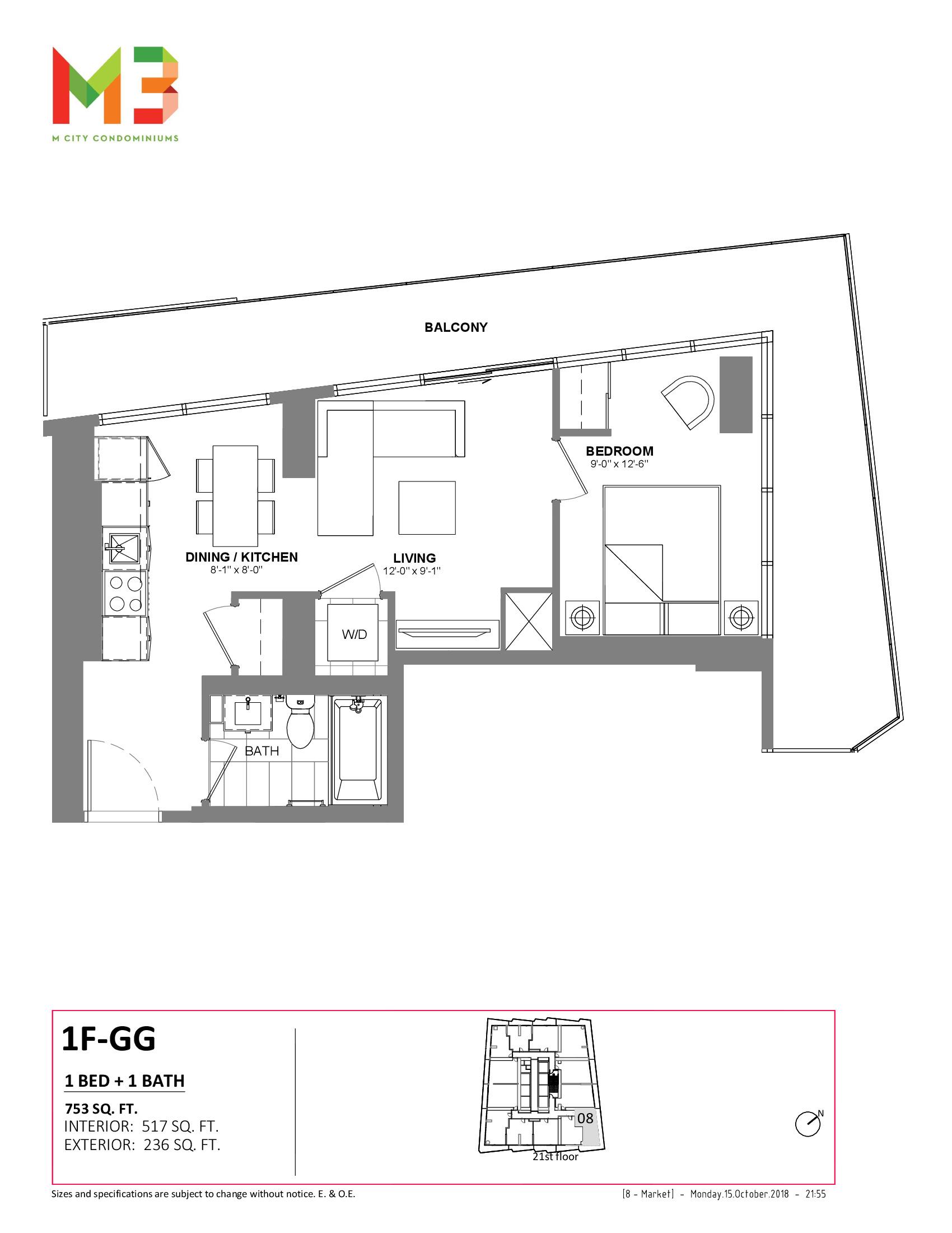 1F-GG Floor Plan at M3 Condos - 517 sq.ft