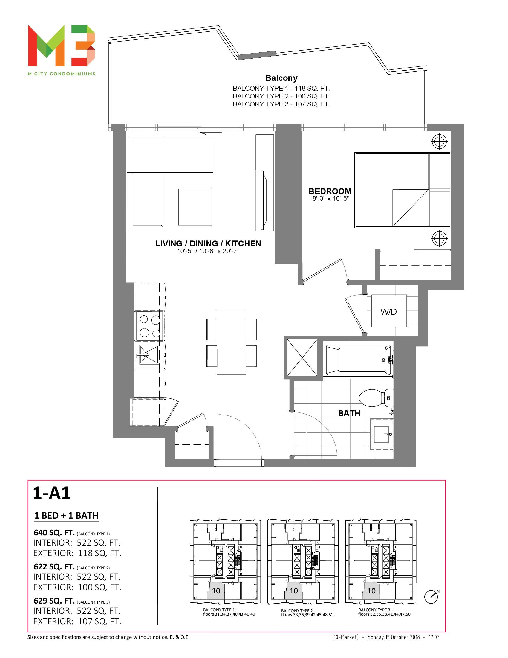 1-A1 Floor Plan at M3 Condos - 522 sq.ft
