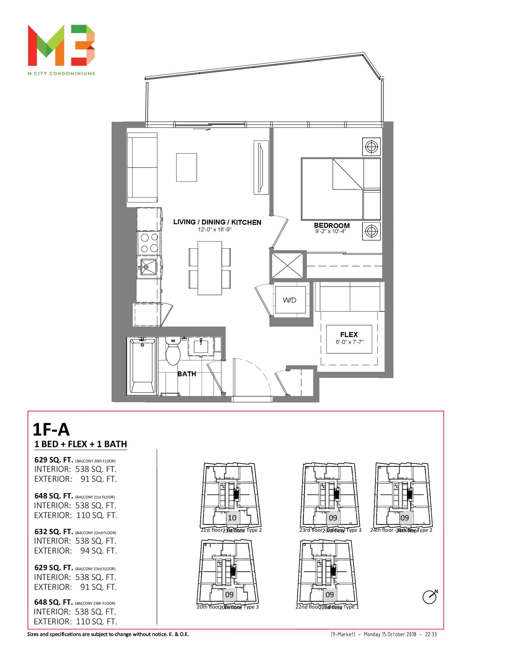 1F-A Floor Plan at M3 Condos - 538 sq.ft
