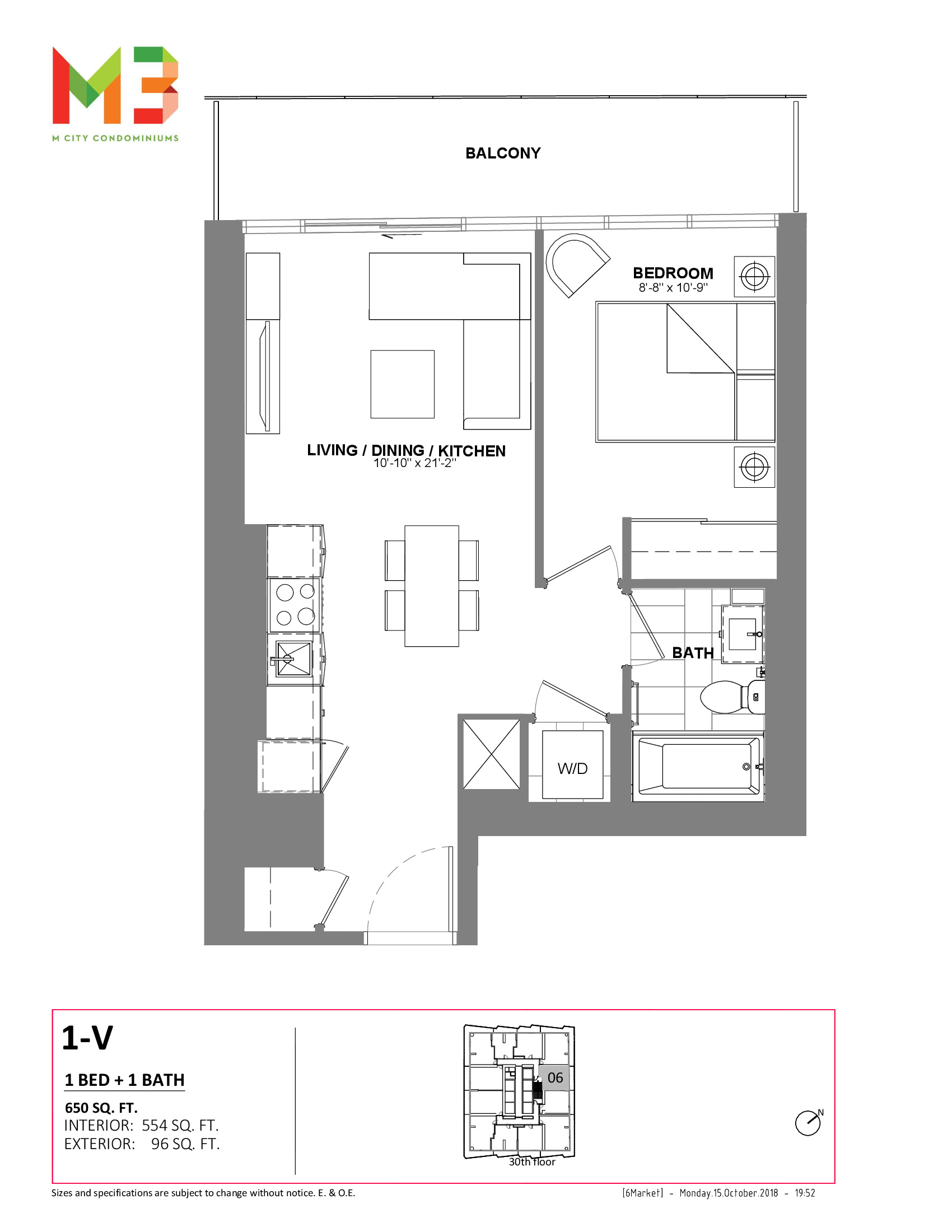1-V Floor Plan at M3 Condos - 554 sq.ft